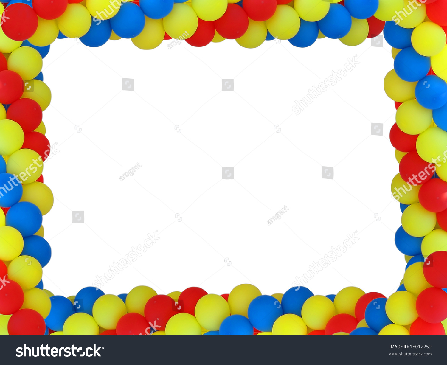 colored balloon frame with empty place for birthday portrait isolated over white