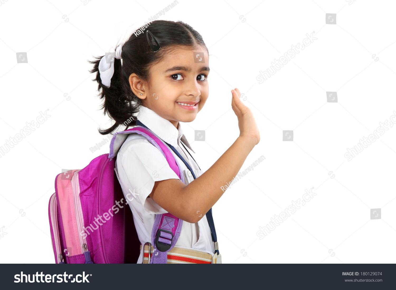 Indian School Girl Saying Good Bye Stock Photo 180129074 ...