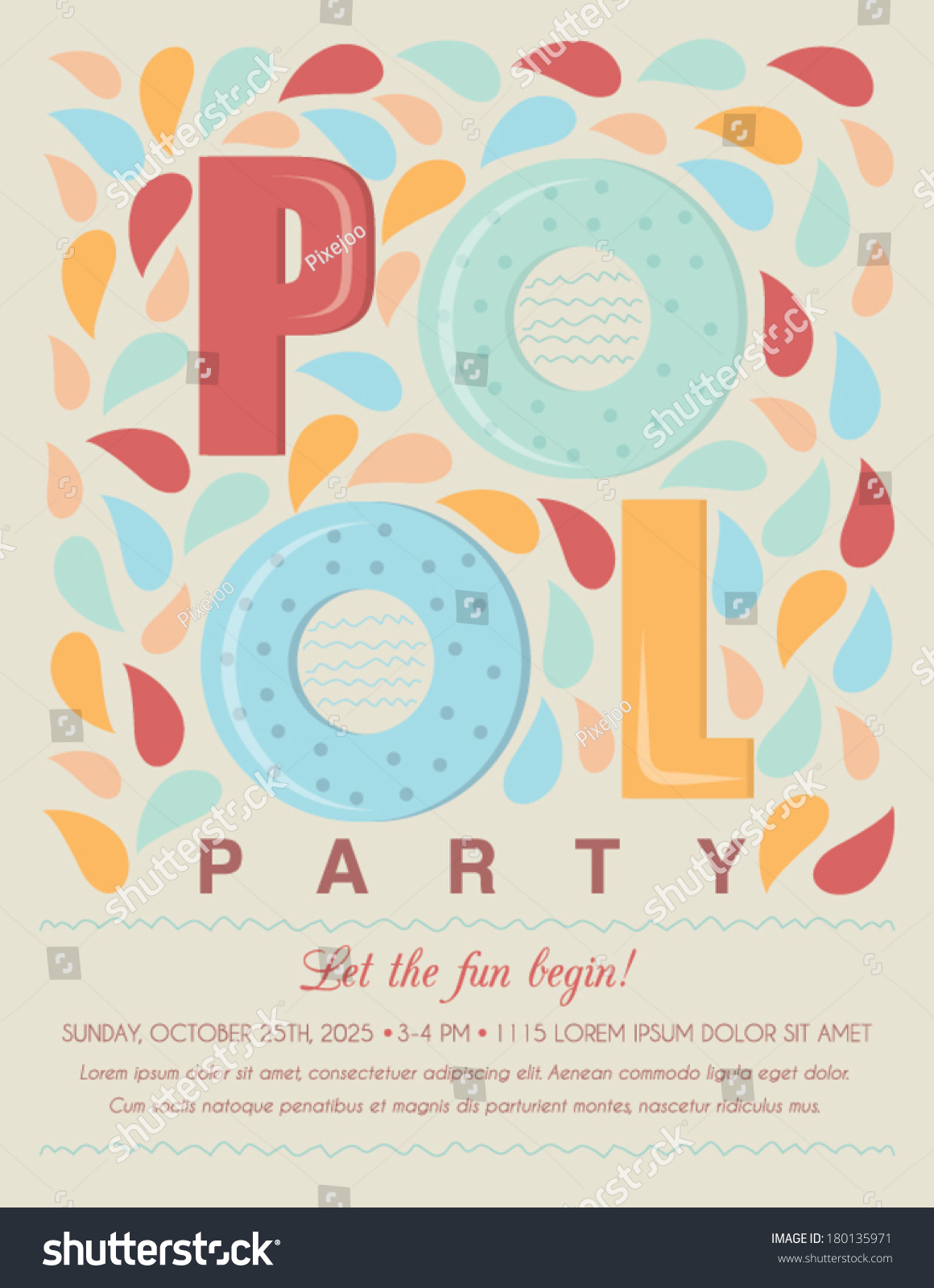 pool beach party invitation template card stock vector 180135971 pool or beach party invitation template card