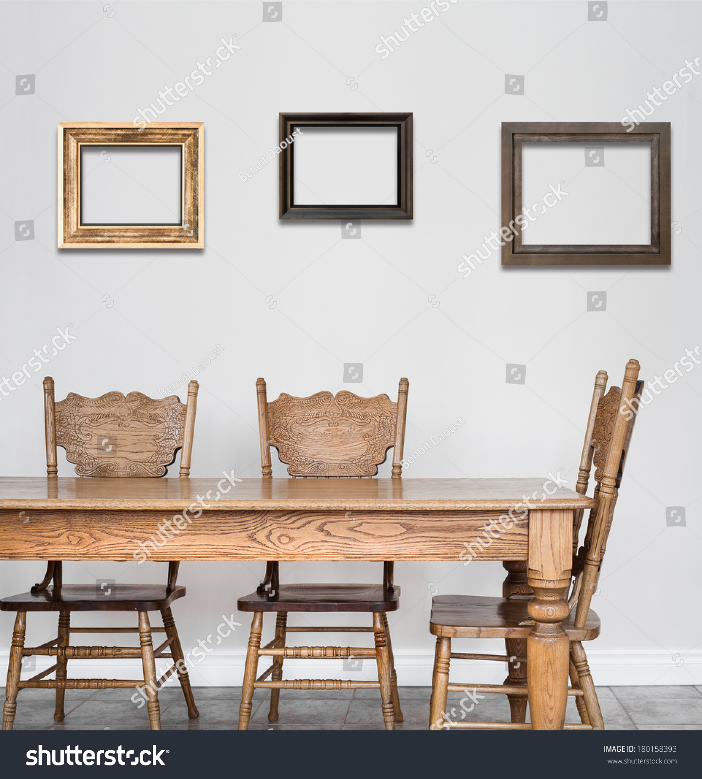 Wooden dining room table chair details stock photo