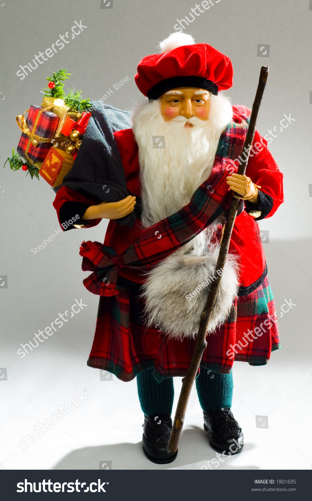 Scottish Santa Claus Toy Bag Day Stock Photo 1801695