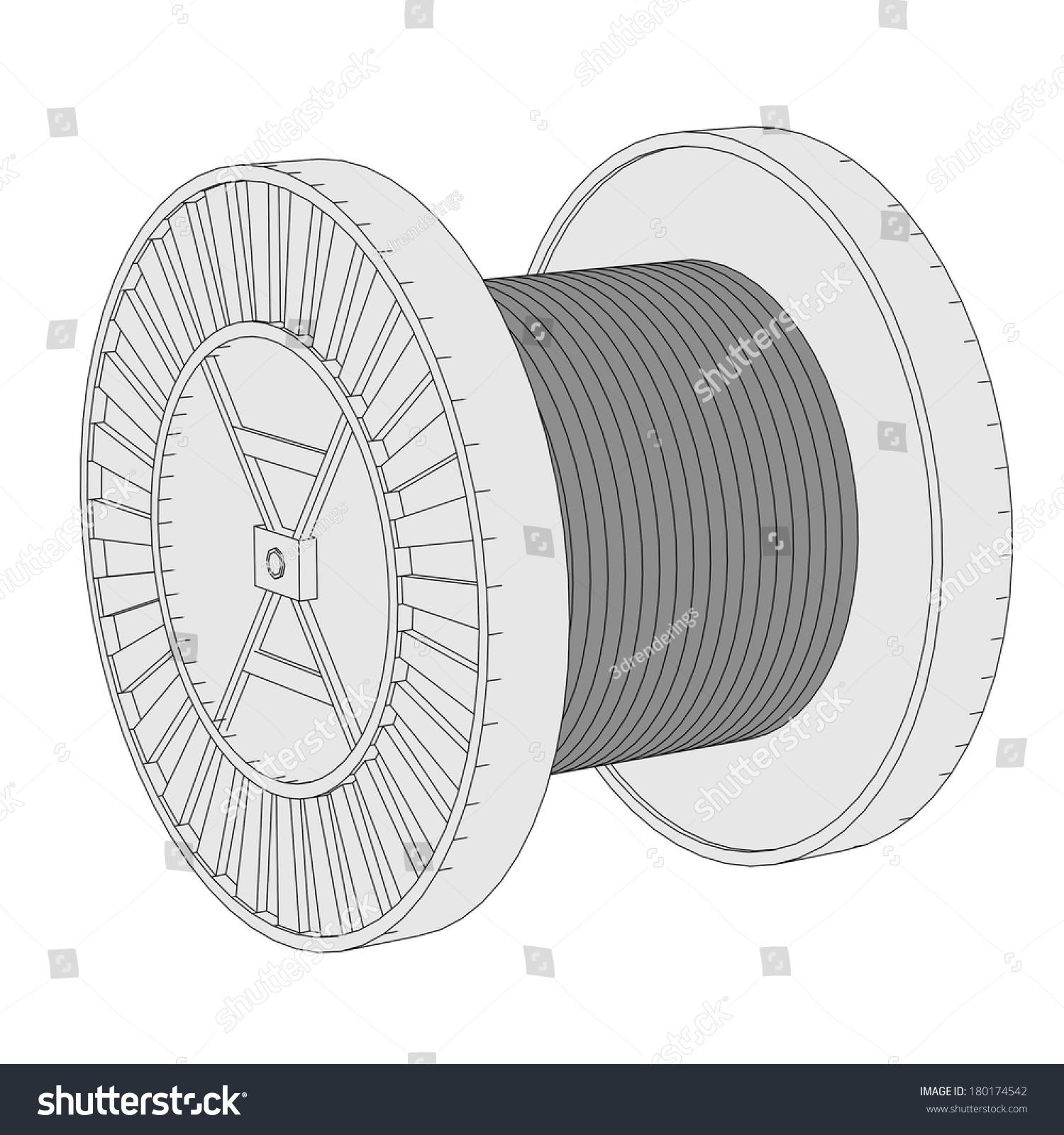 Cartoon Image Wire Spool Stock Illustration 180174542 - Shutterstock