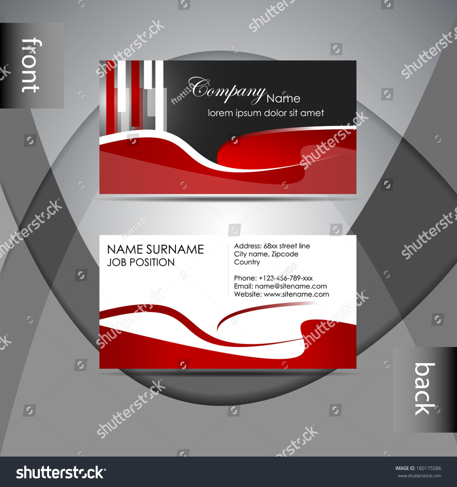 Abstract Professional Business Card Template Visiting Stock Vector ...