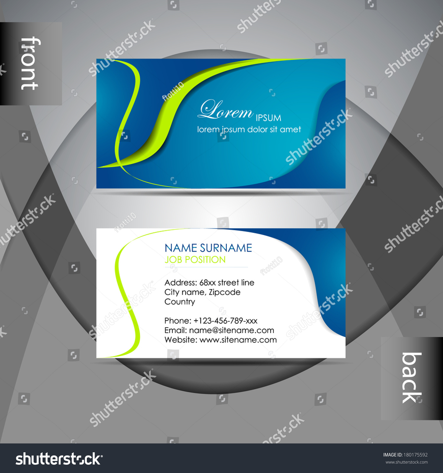 Abstract Professional Business Card Template Visiting Stock Vector - Professional business card templates