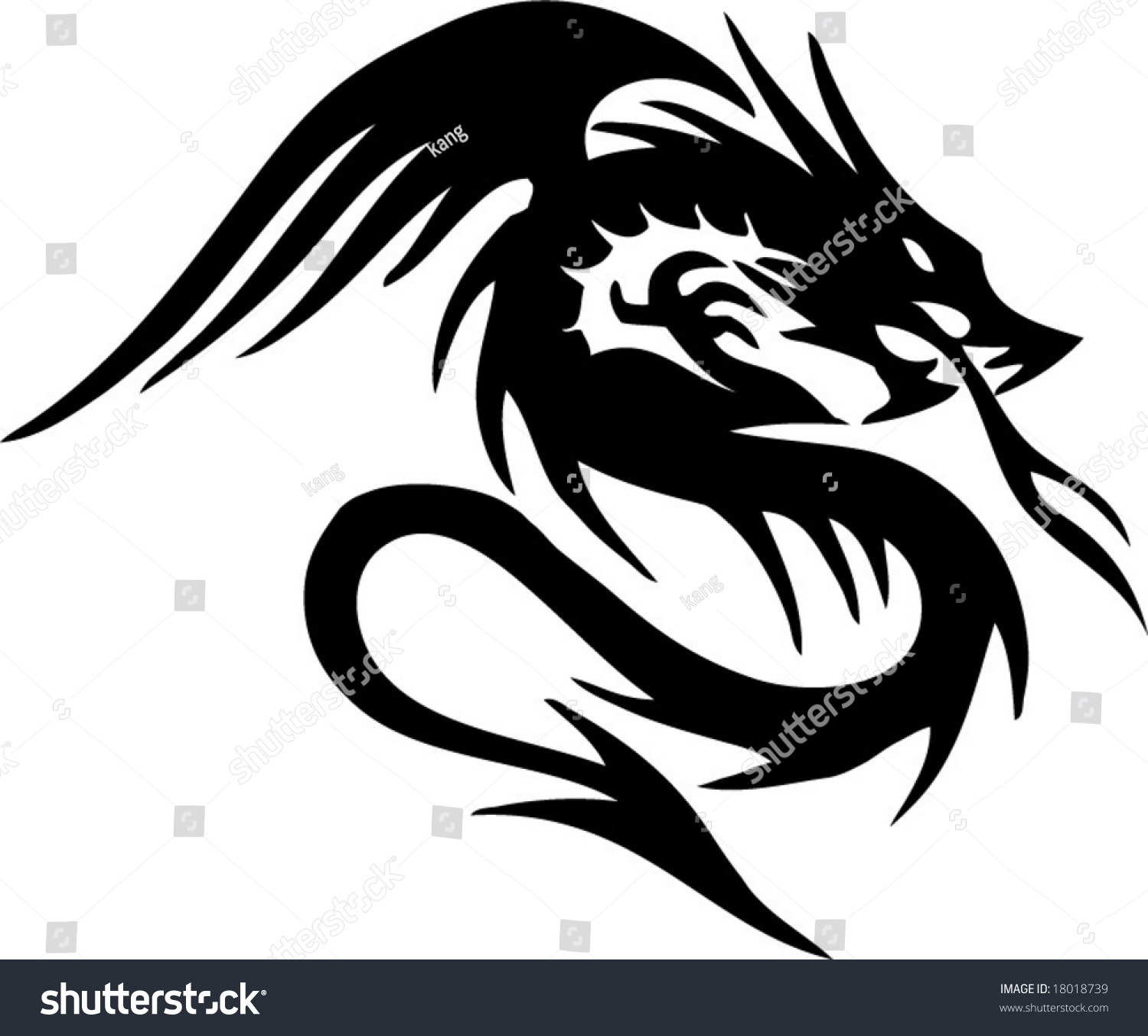 dragon tribal tattoo stock vector 18018739 shutterstock. Black Bedroom Furniture Sets. Home Design Ideas