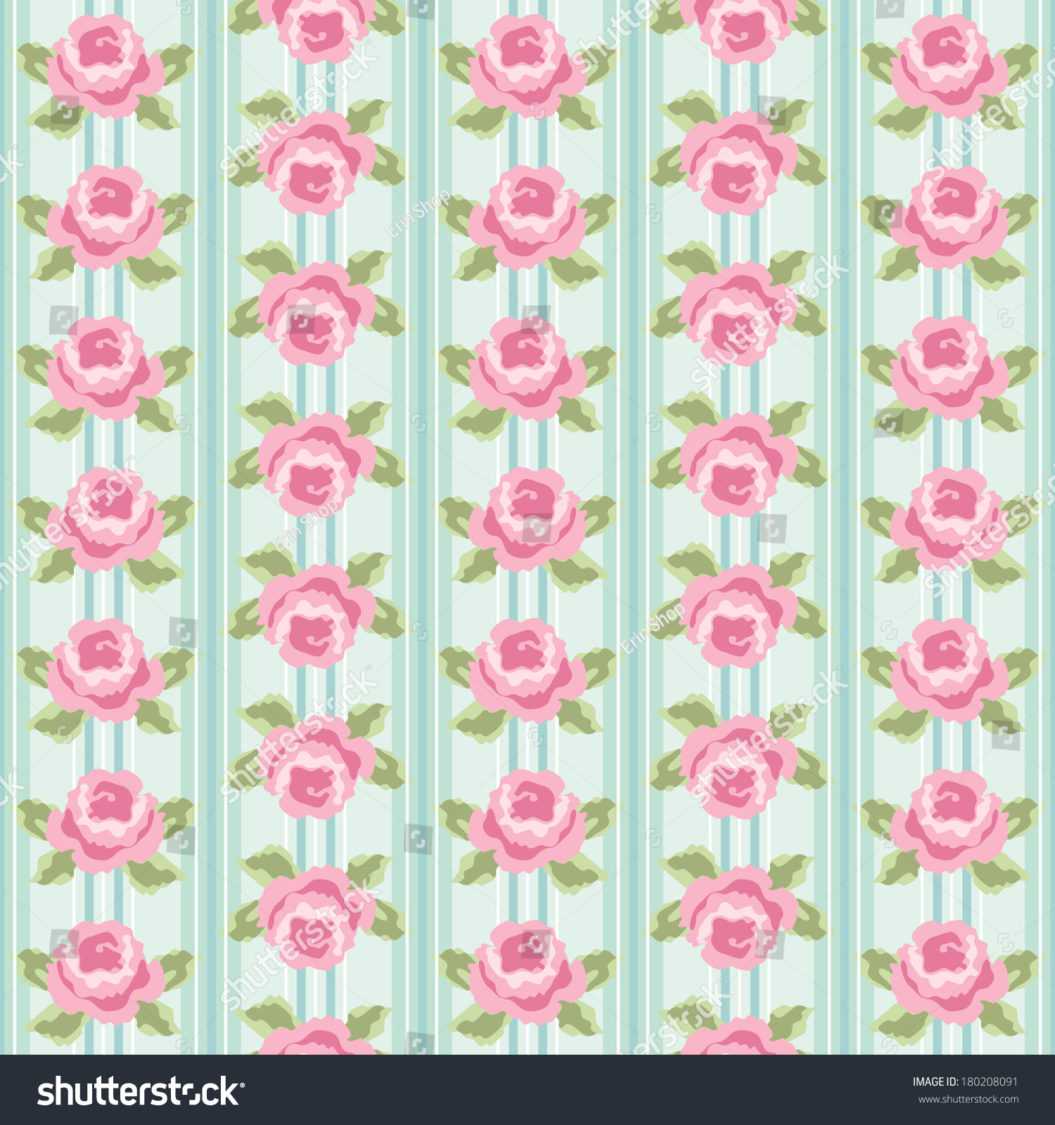 Retro Background As Striped Wallpaper With Roses In Shabby Chic Style 180208091