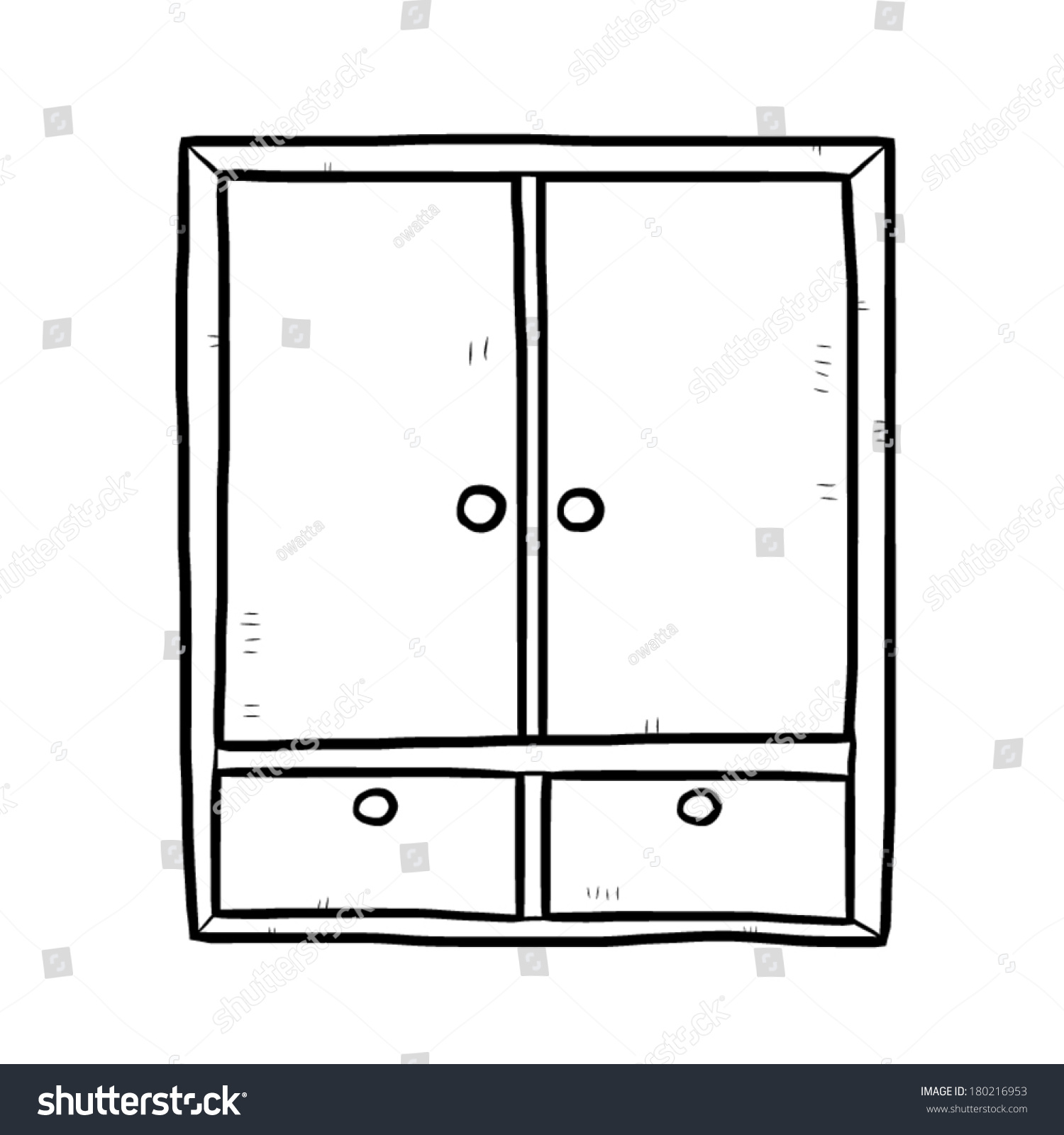 Wooden Wardrobe Cartoon Vector And Illustration Black White Hand Drawn Sketch