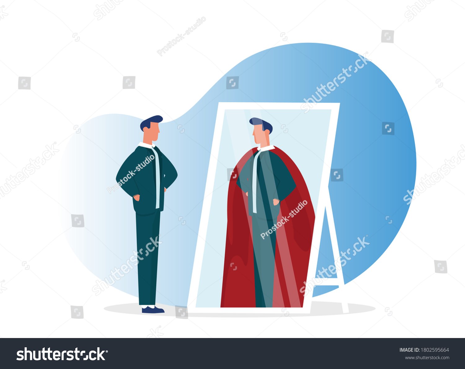 Businessman Looking At Reflection In Mirror And Seeing Super Hero Standing On White Background. Leadership, Ambition And Self-Confidence. Vector Illustration