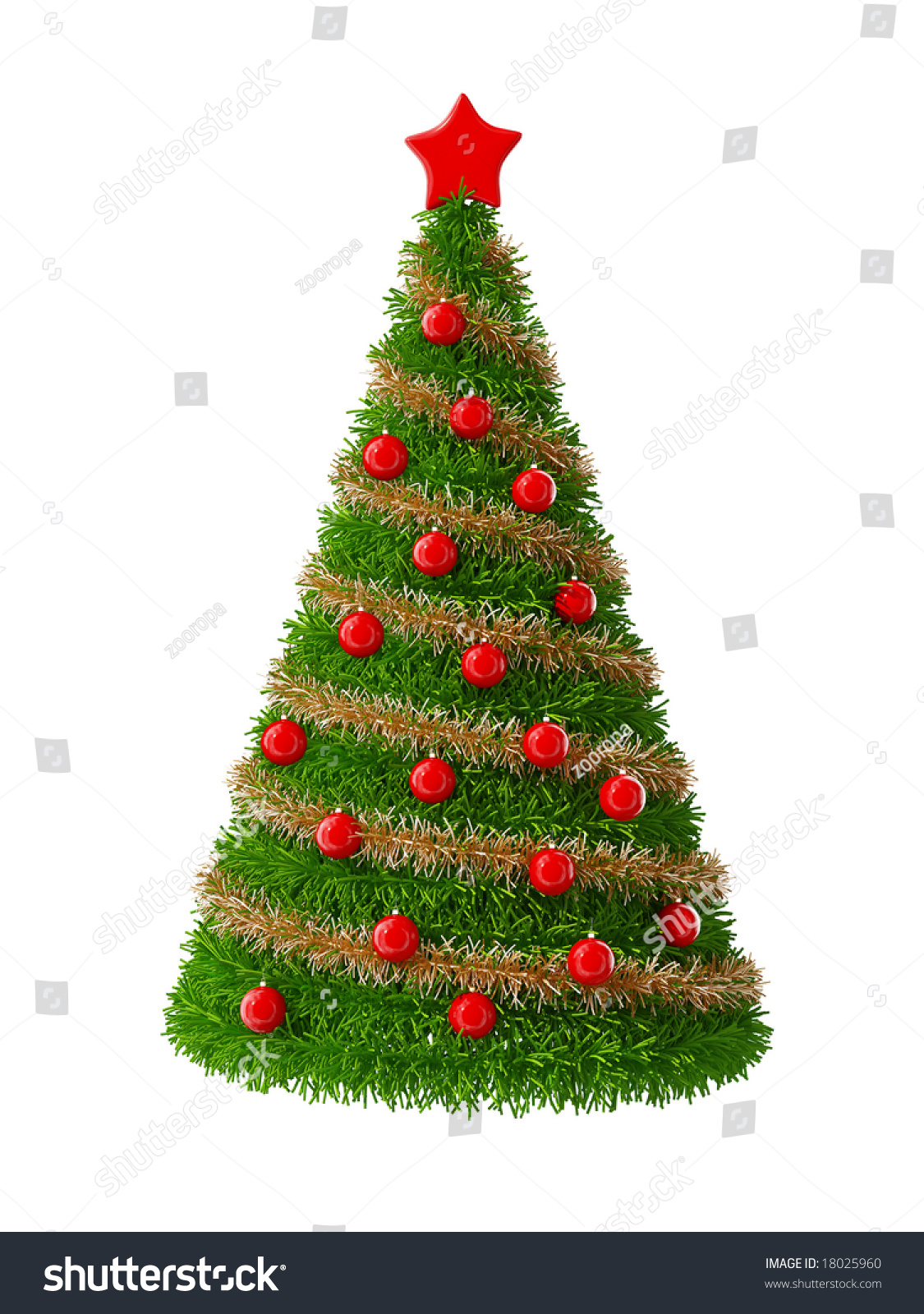 3d christmas tree with decorations stock photo 18025960 for 3d christmas decoration