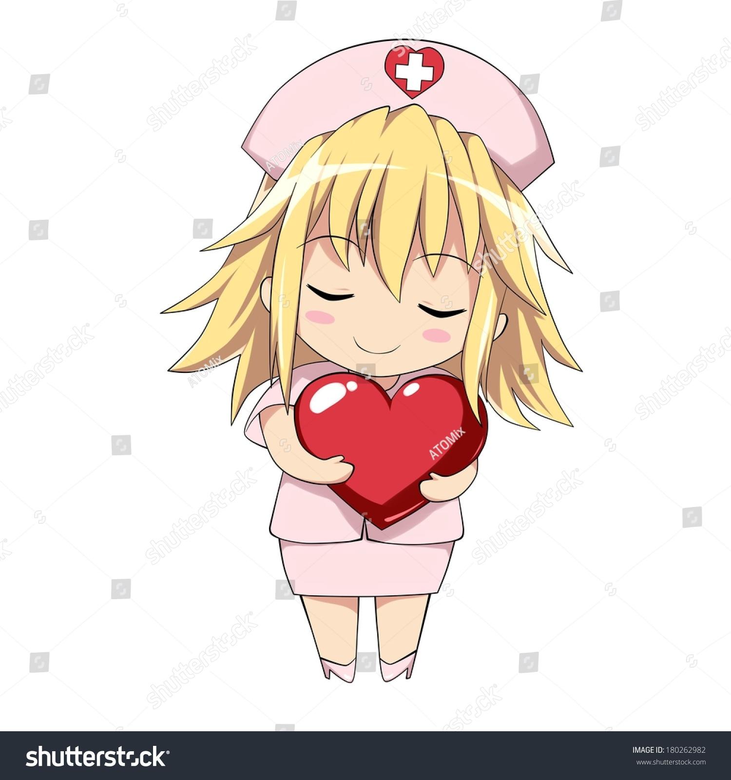 Cute nurse holding big heart