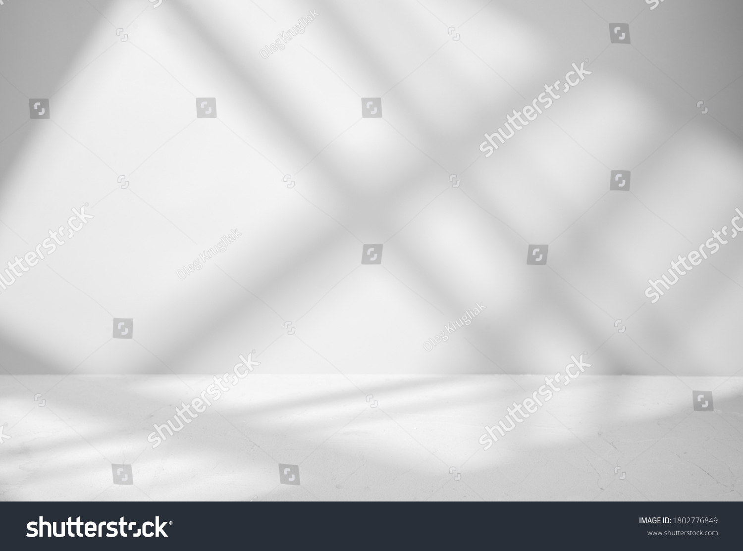 Gray background for product presentation with shadow and light from windows #1802776849