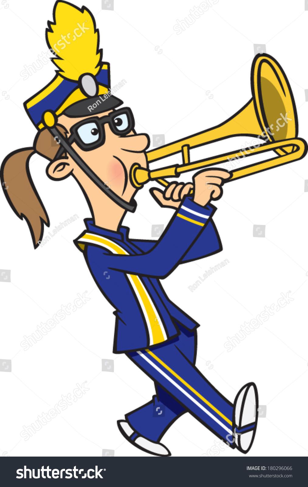 Cartoon Trombone Cartoon Girl Pl...