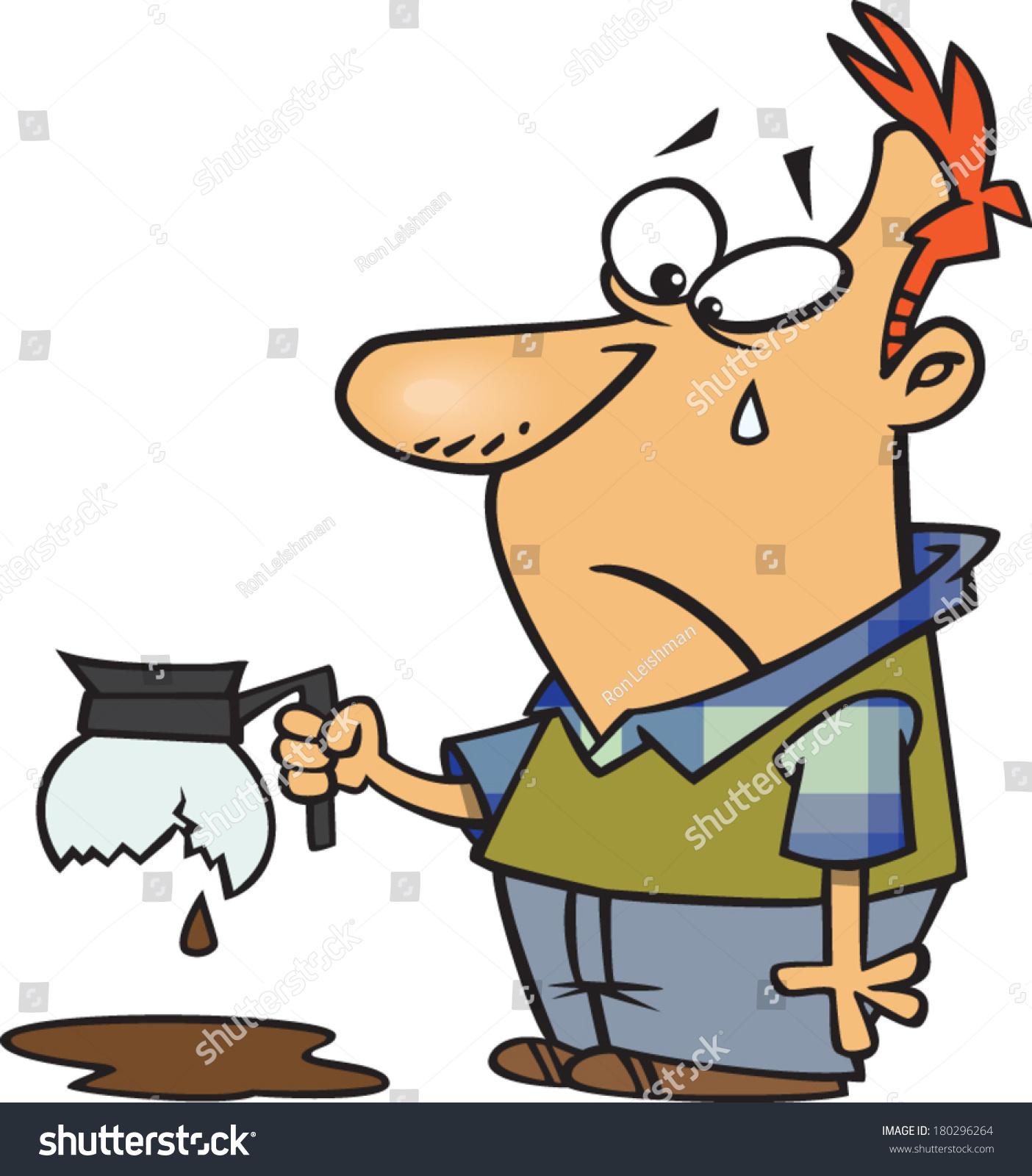 Sad Cartoon Man Crying Over Broken Stock Vector 180296264
