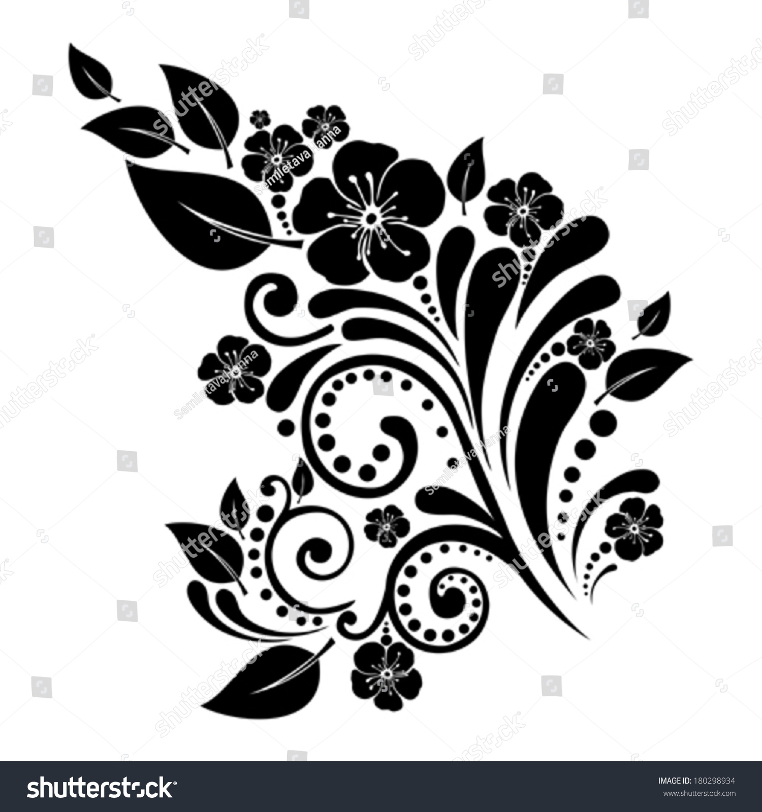 Black Flower Isolated On White Background. Vector
