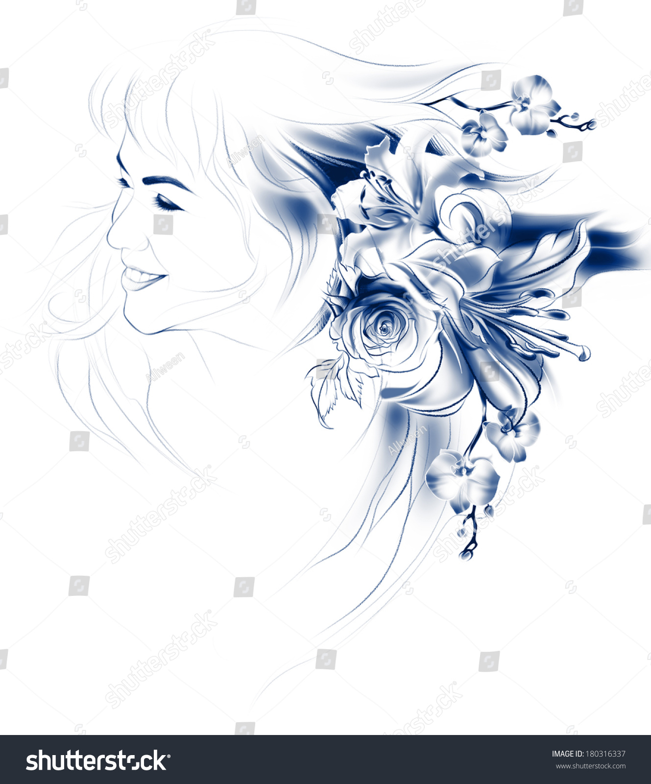 Portrait Beautiful Girl Flowers Her Hair Stock Illustration
