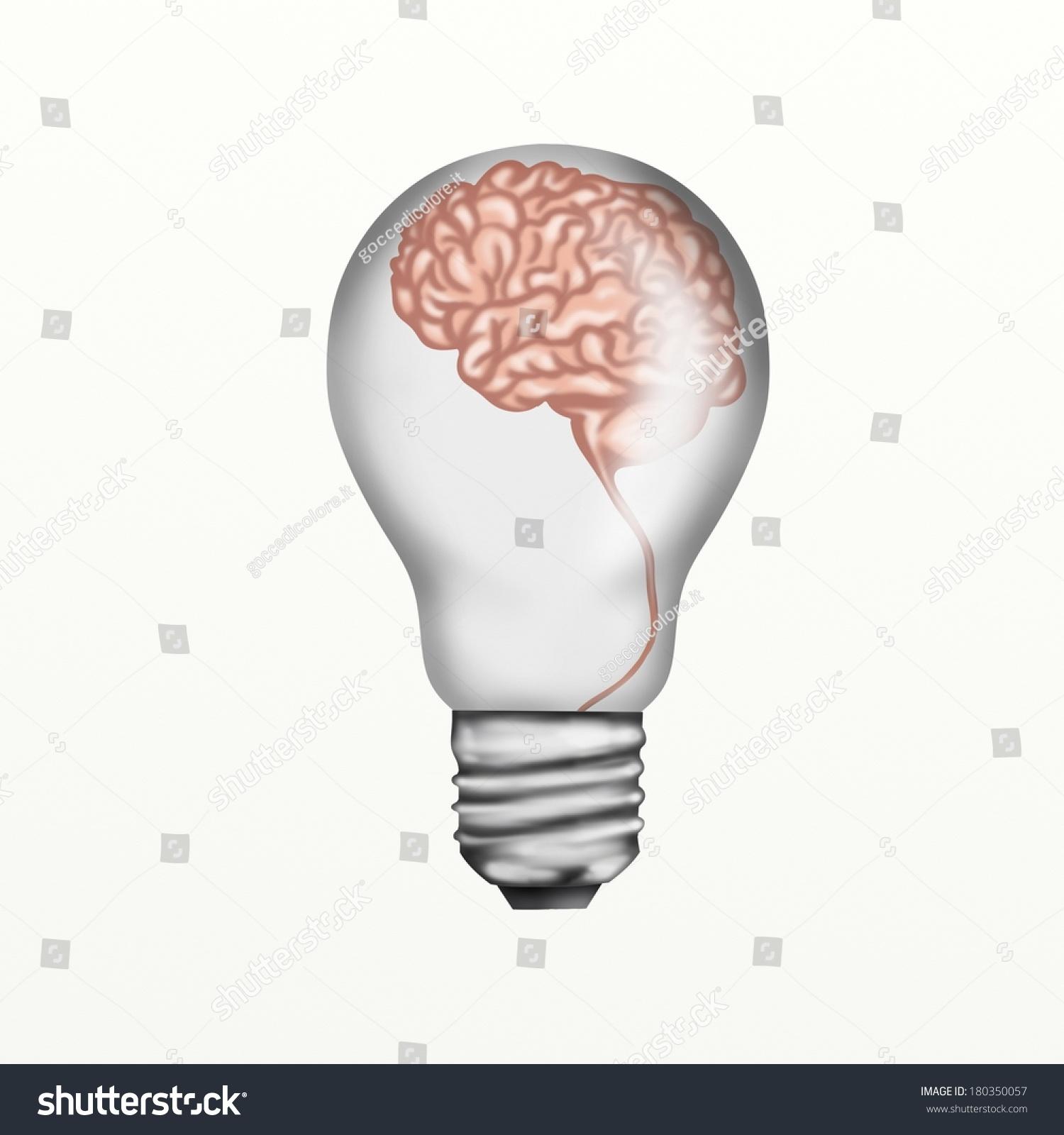 Drawing Light Bulb Brain Stock Illustration 180350057 - Shutterstock