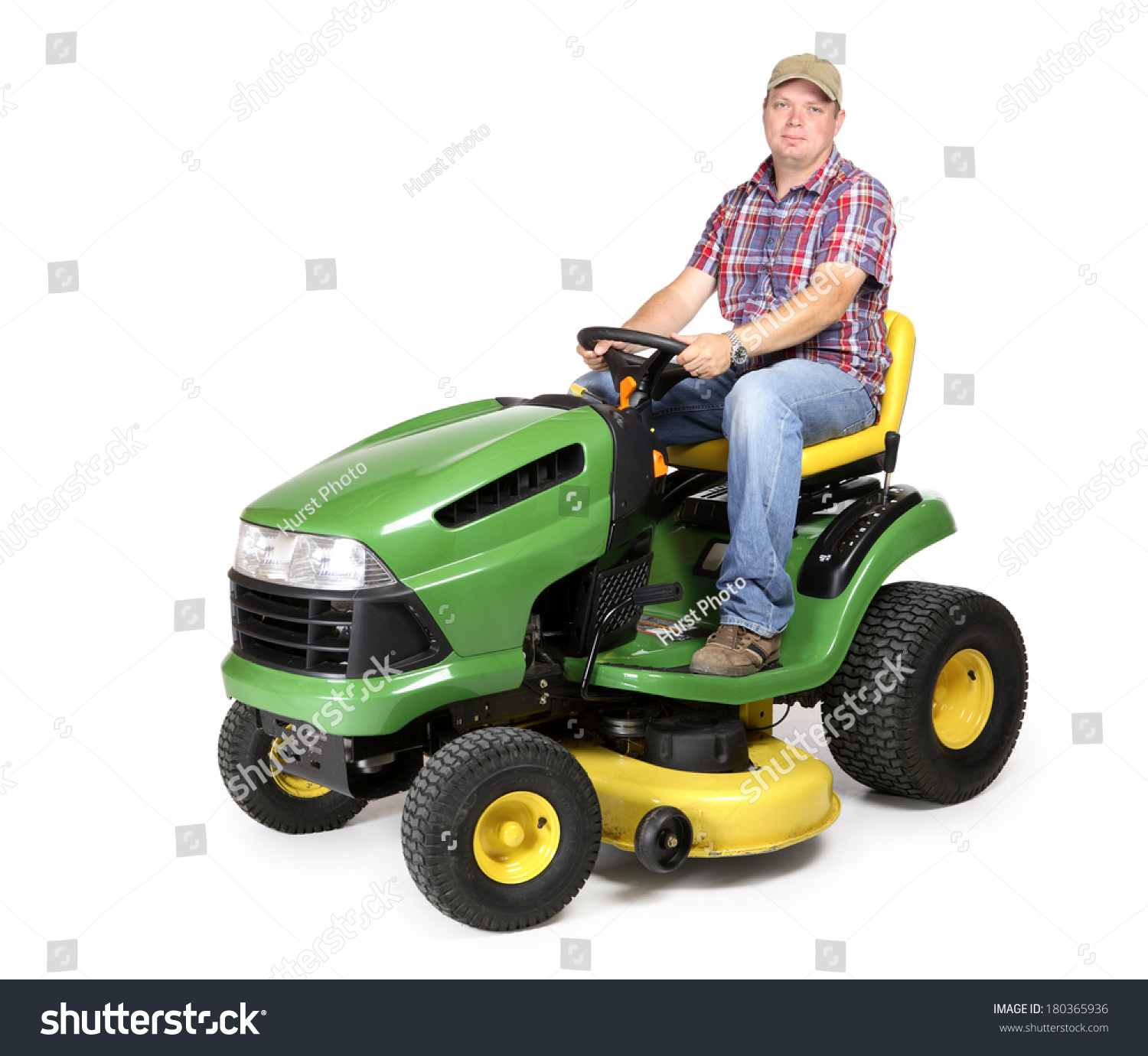 Man On Tractor Lawn Enforcment : Lawn tractor man riding stock photo shutterstock