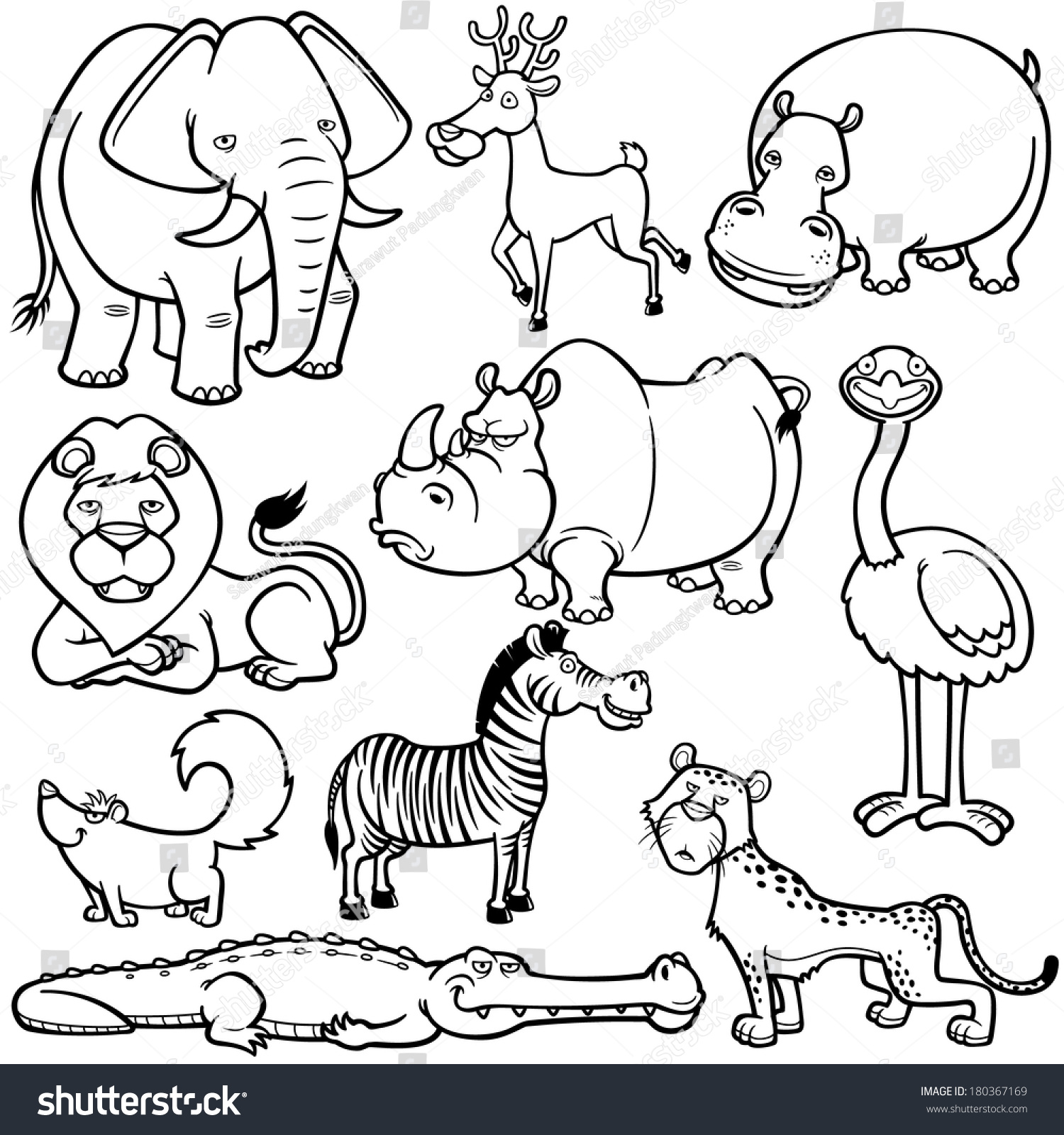Vector Illustration Wild Animals Cartoons Coloring Stock Vector