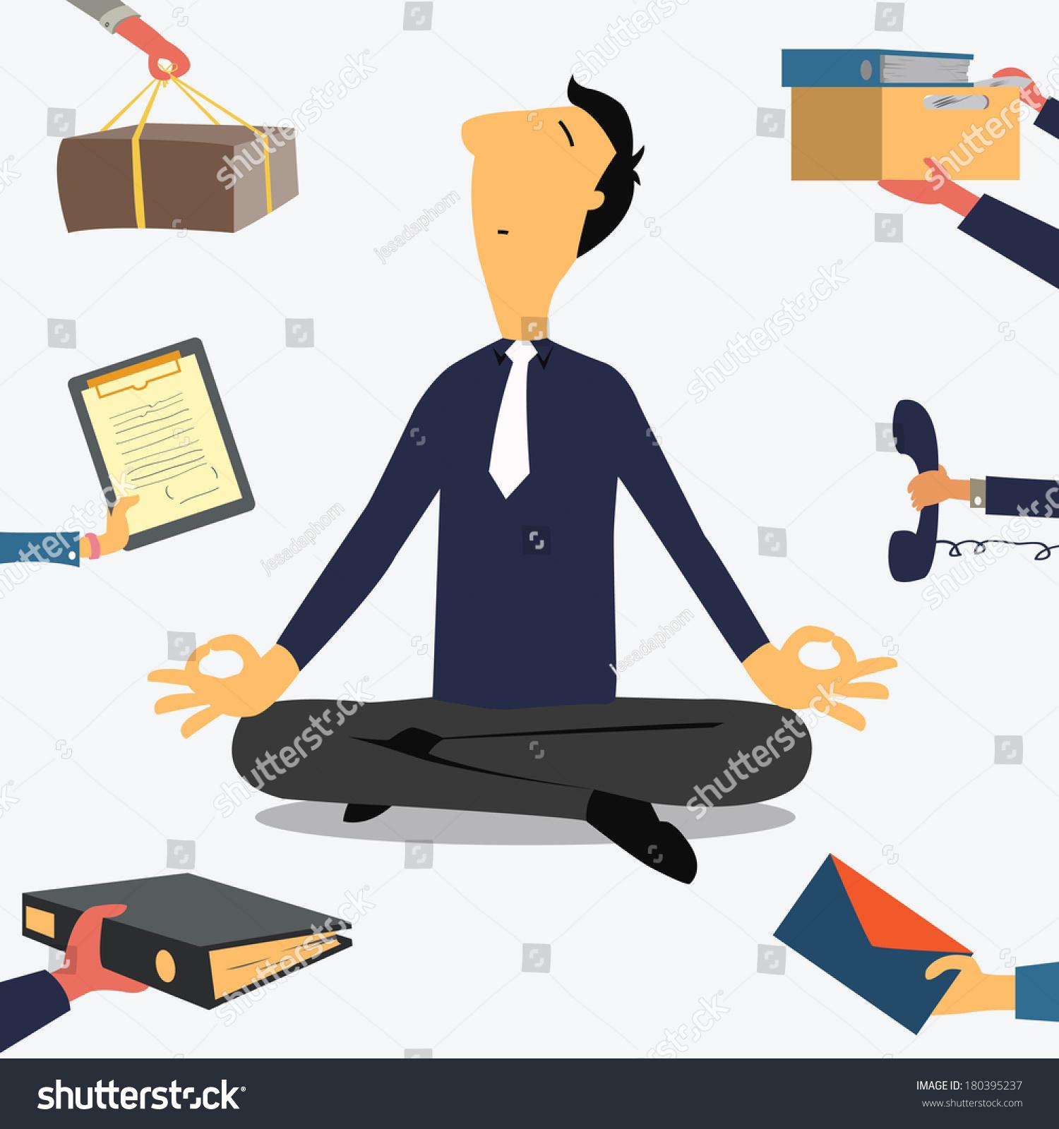 Businessman Doing Yoga Calm Down Stressful Stock Vector ...