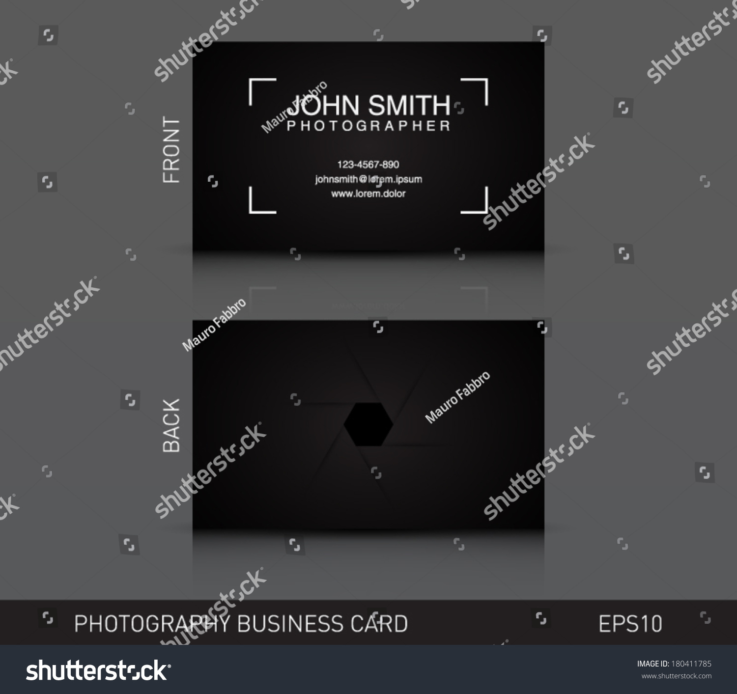 Photographer Business Card Template Photography Photo Stock Vector ...