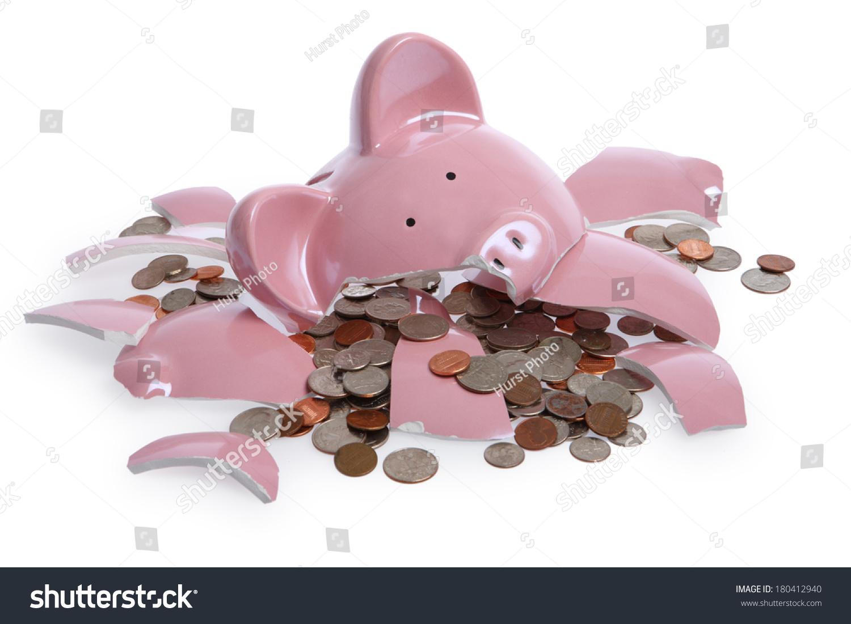 Broken Piggy Bank Stock Photo (Edit Now) 180412940