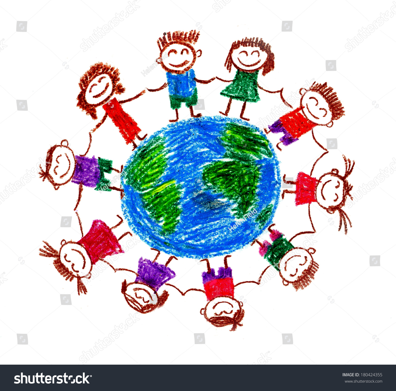 Royalty Free Stock Illustration Of Peace Earth Kids Drawings Stock