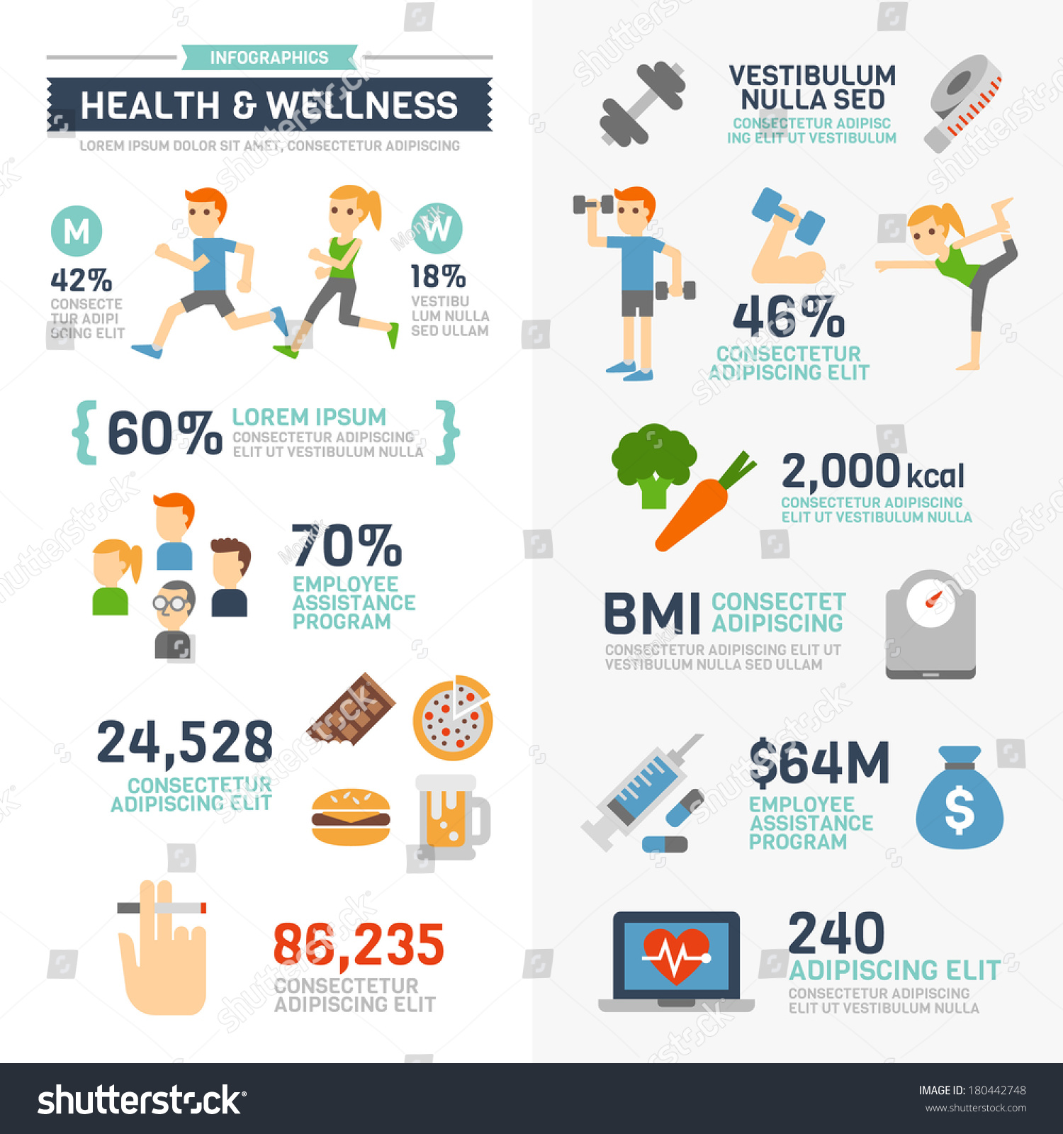 4 H On Twitter Check Out This Infographic On How To: Health And Wellness Infographics Stock Vector Illustration