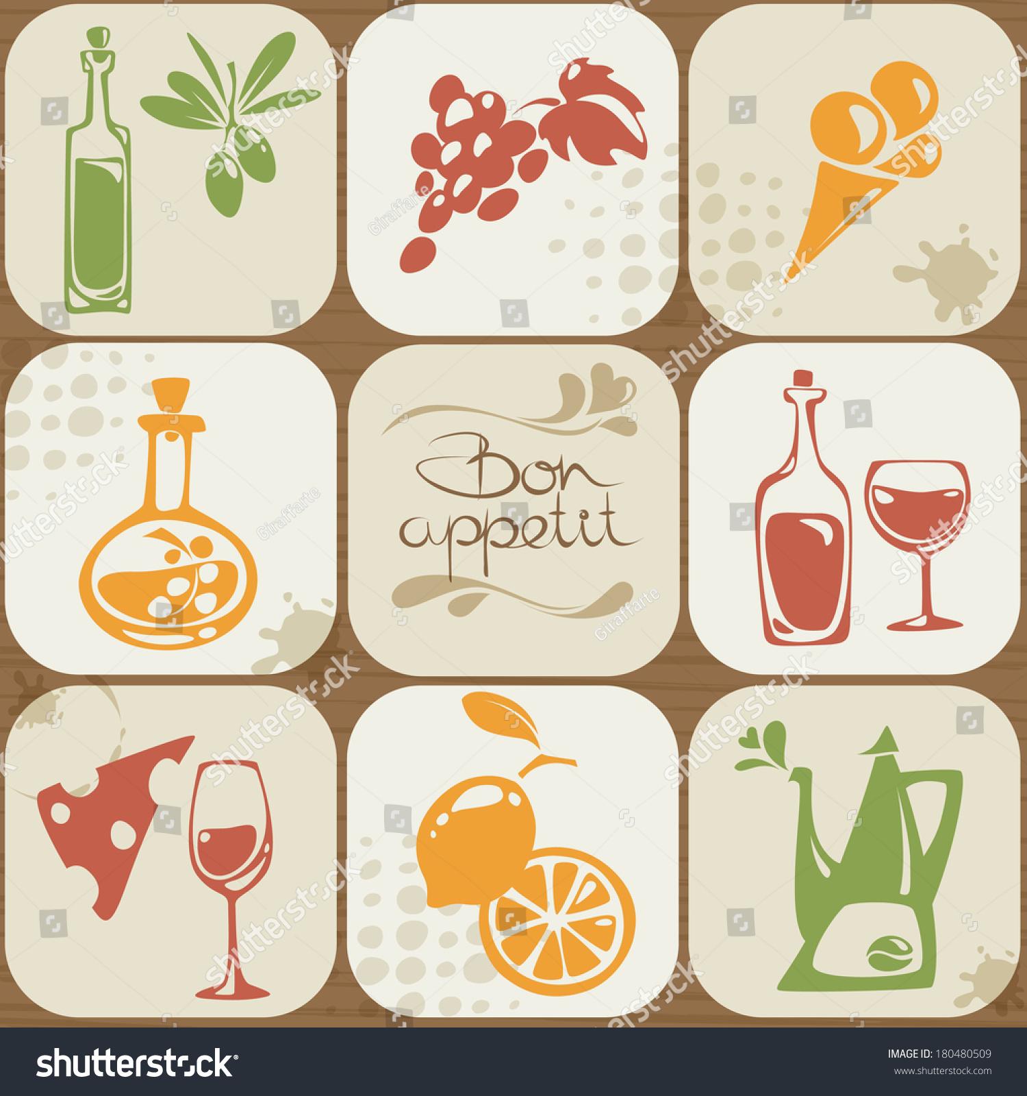Vector Set Italian Symbols Food Icons Stock Vector Royalty Free