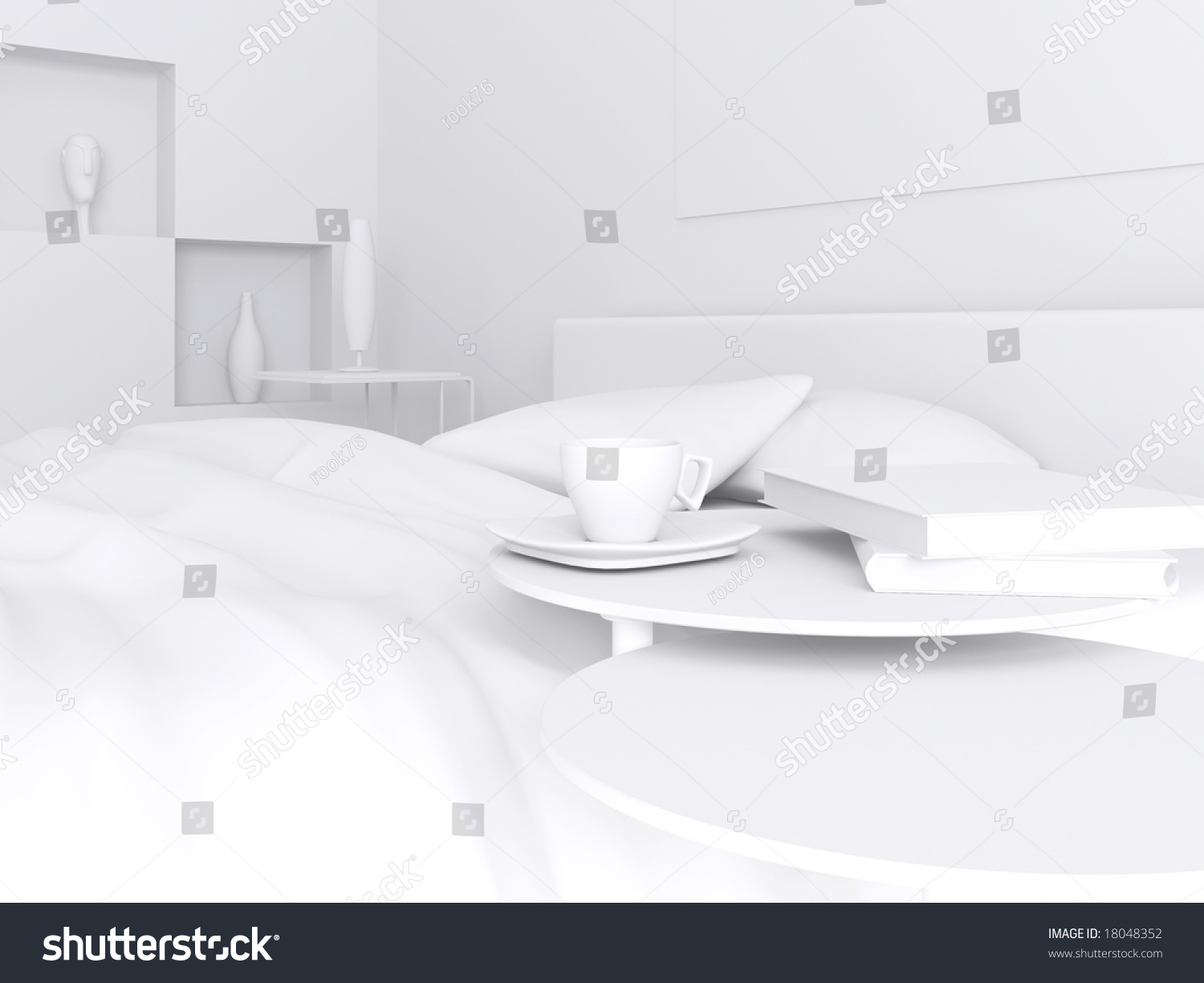 High Resolution Image Interior A Bed In A Bedroom 3d
