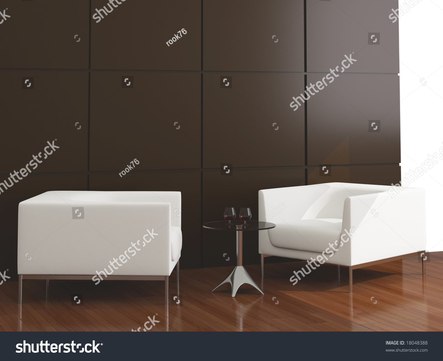 High Resolution Image Interior White Armchair Stock