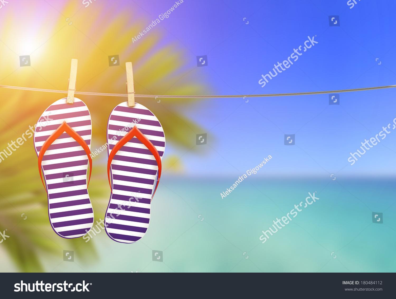 10a243bd9b7c32 Summer Flip Flops On Clothesline Beach Stock Illustration - Royalty ...