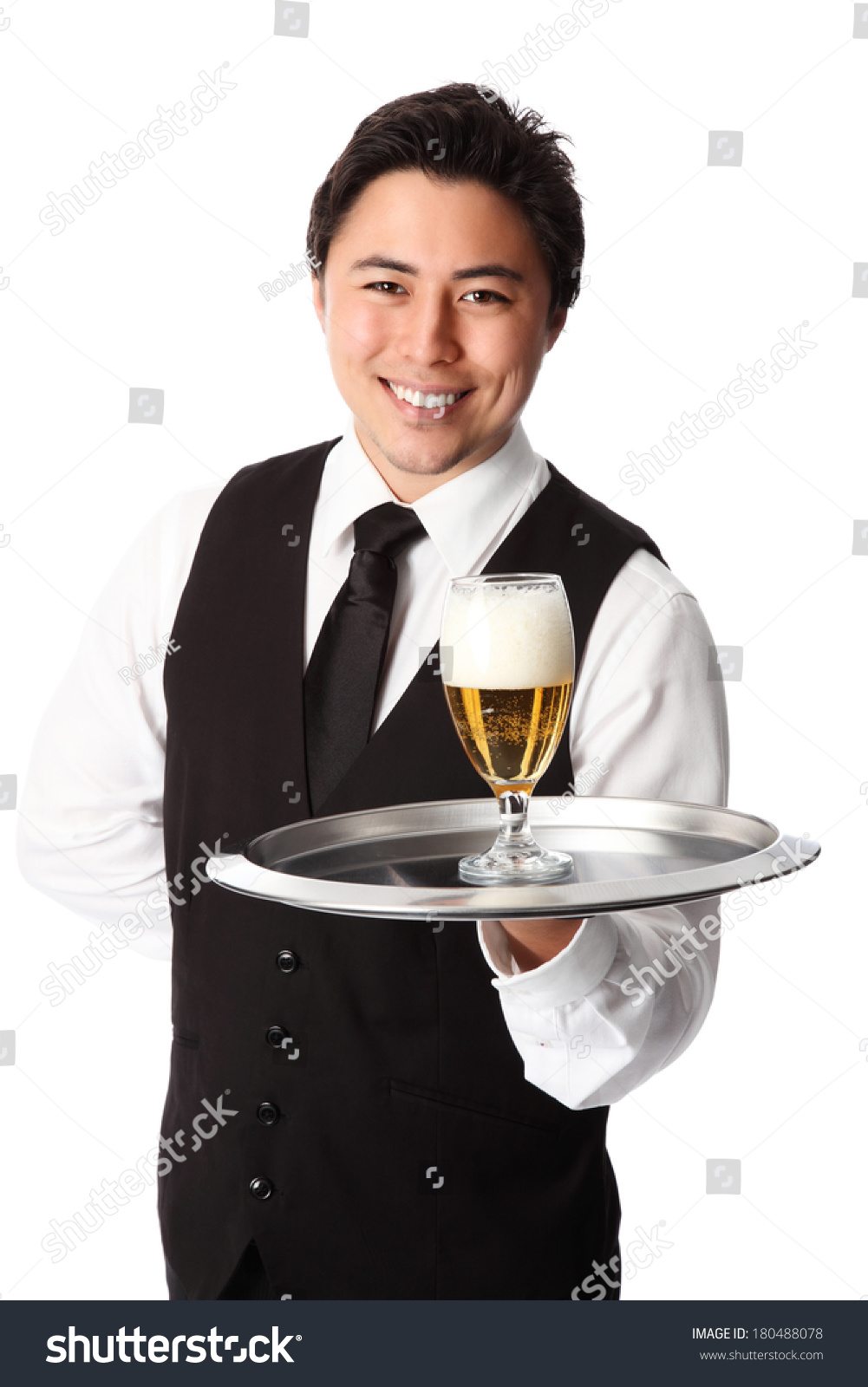 Young Attractive Waiter Wearing White Shirt Stock Photo ...