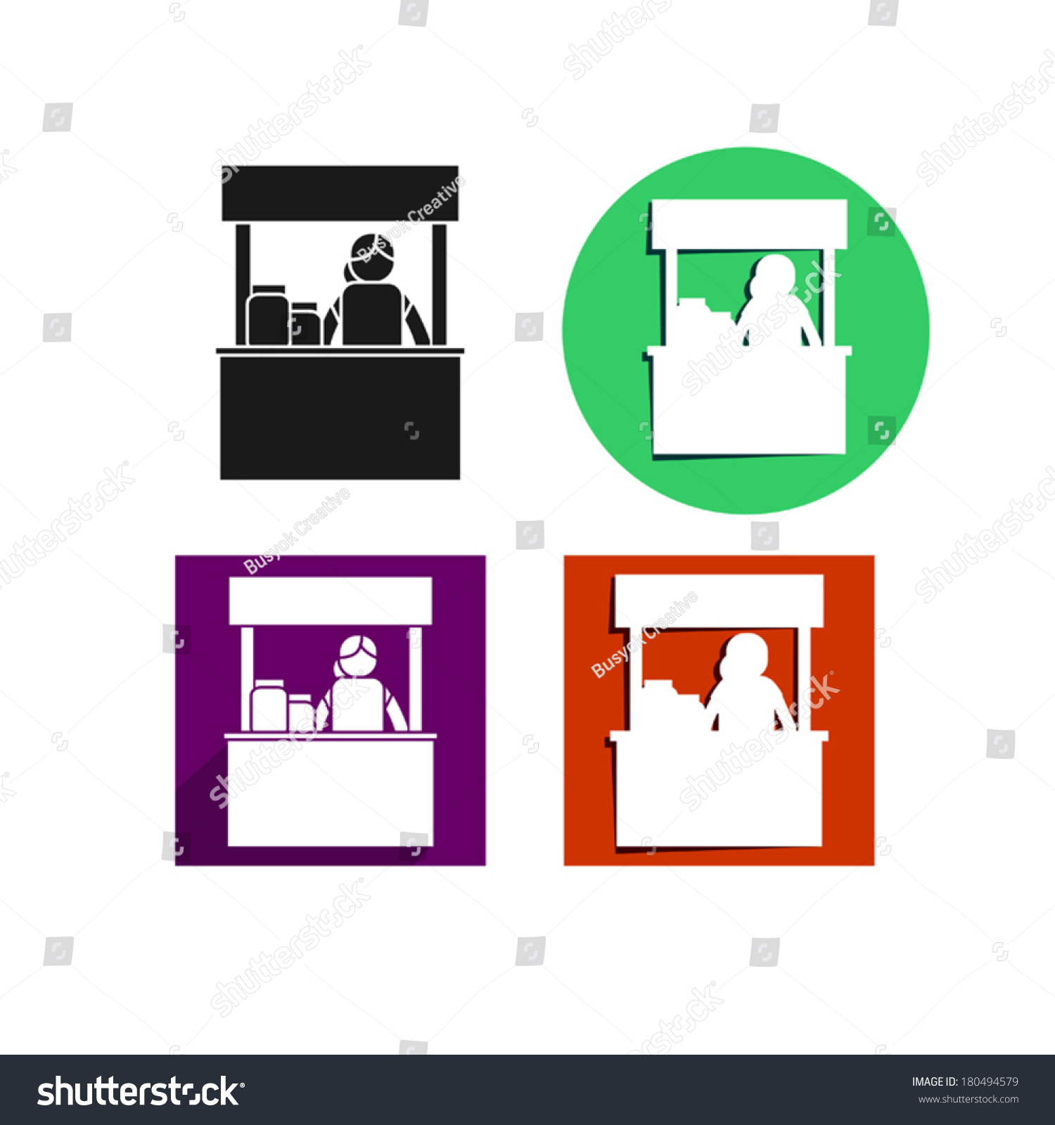 Exhibition Stall Icon : Food kiosk sign icon set stock vector shutterstock