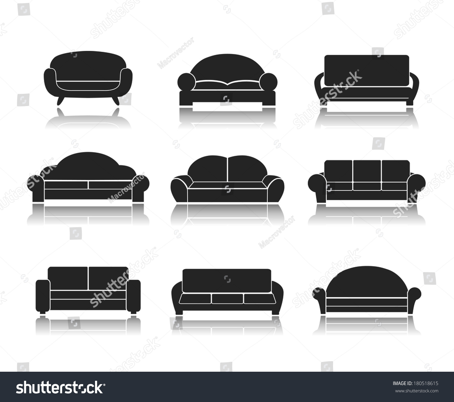 Modern Luxury Sofas Couches Furniture Icons Stock Vector