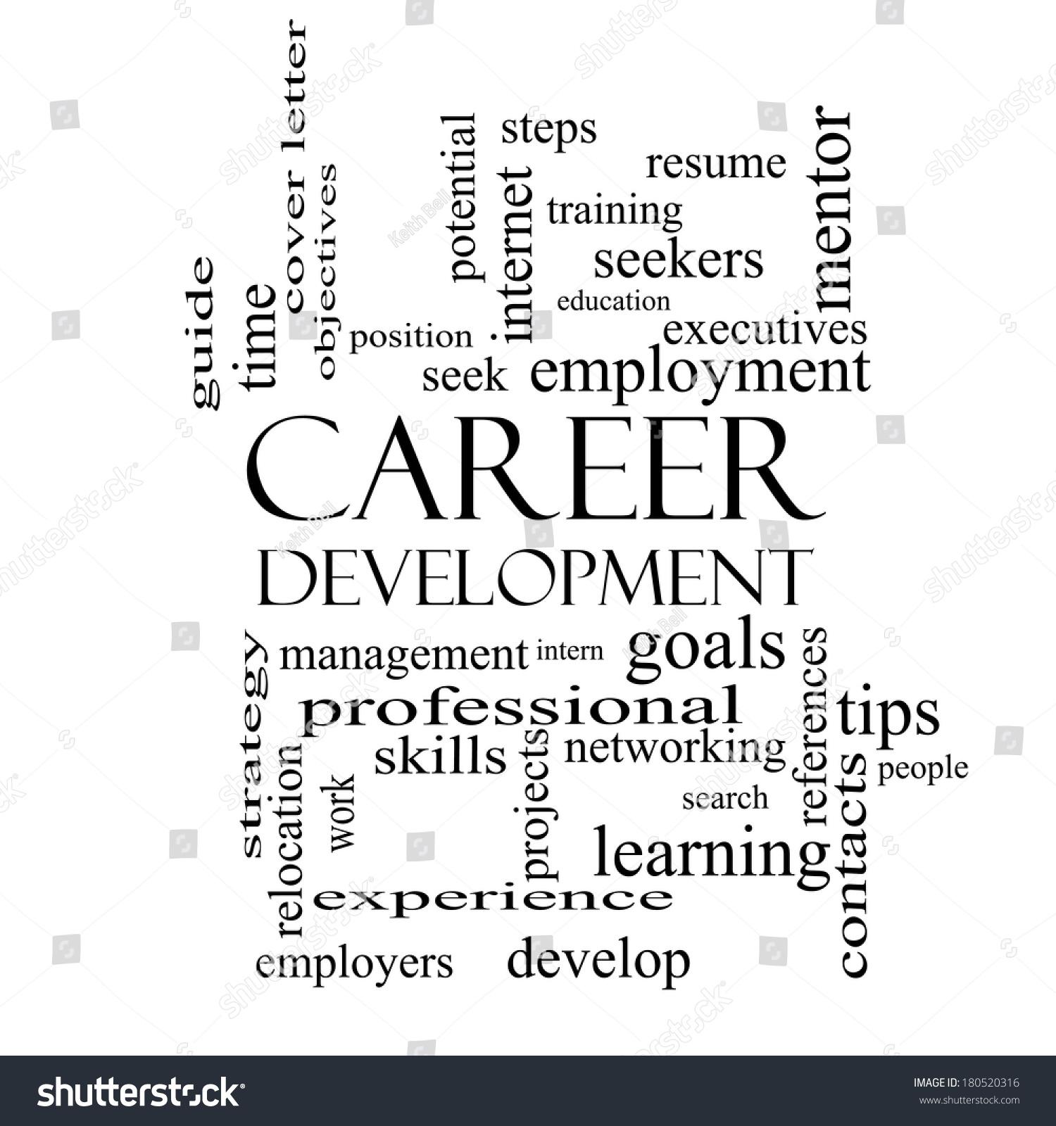 Career Development Word Cloud Concept Black Stock Illustration ...