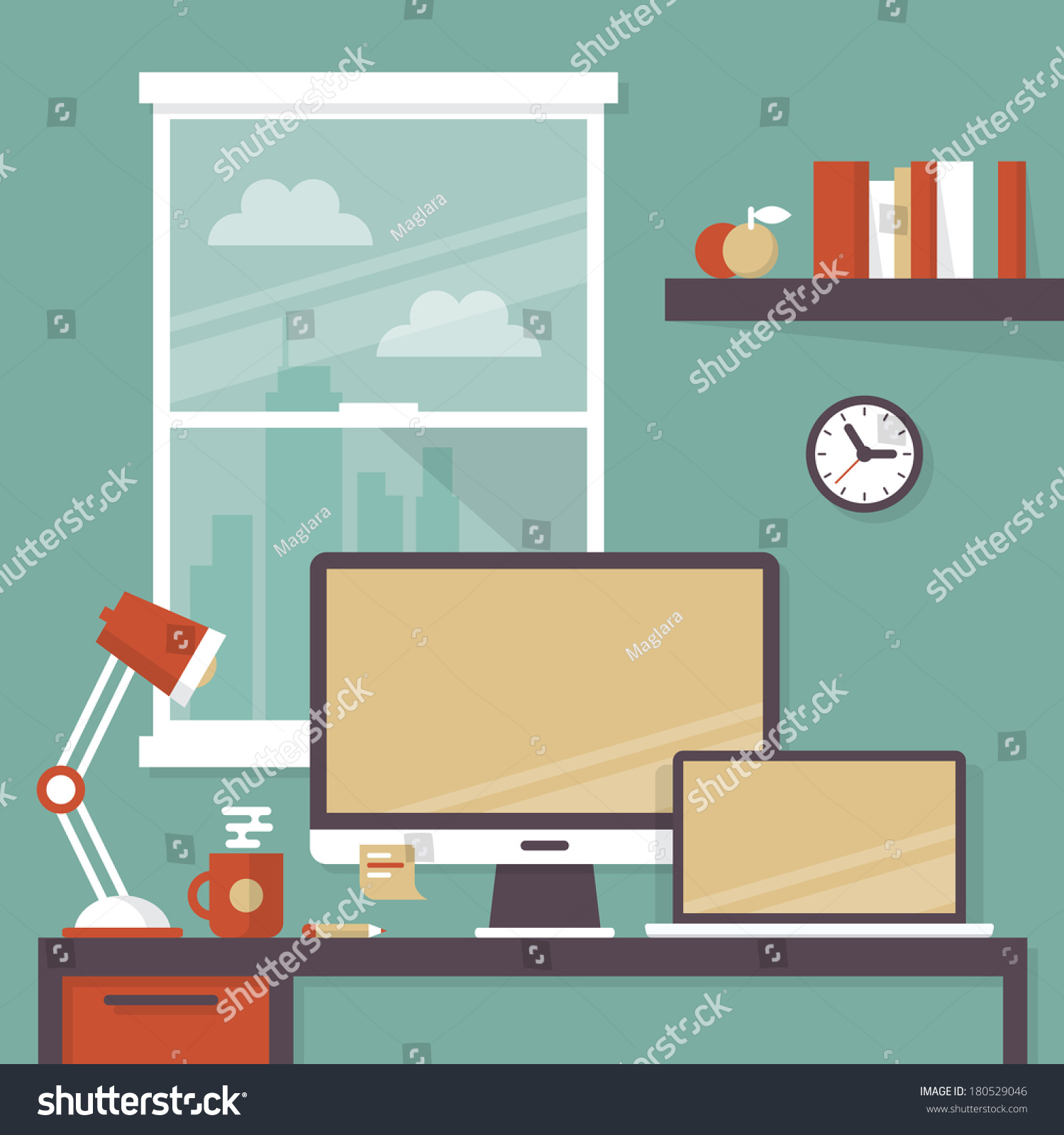 Flat design vector illustration modern office stock vector for Interior design images vector