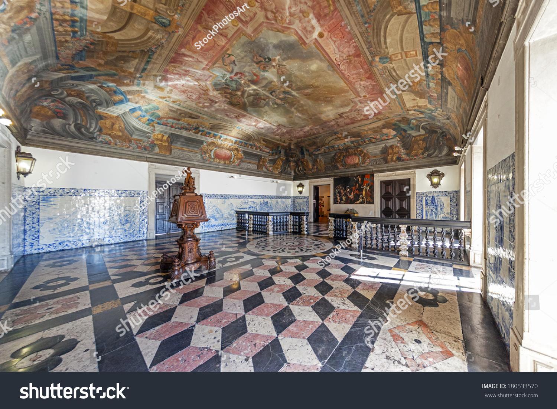 Lisbon portugal september 15 2013 baroque stock photo 180533570 lisbon portugal september 15 2013 baroque entrance hall sala da portaria dailygadgetfo Image collections