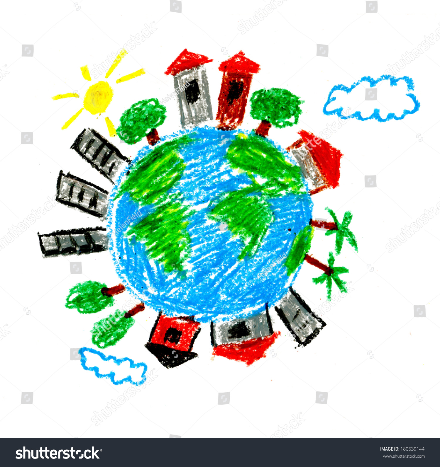 Earth Houses Kids Drawings Stock Illustration 180539144 ...