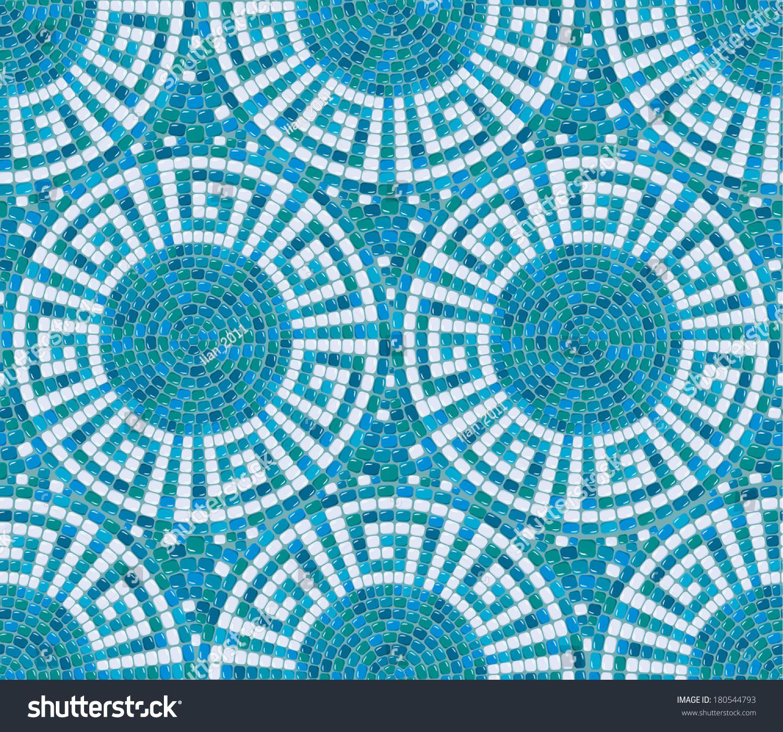 Seamless mosaic pattern blue ceramic tile stock vector for Ceramic patterns designs
