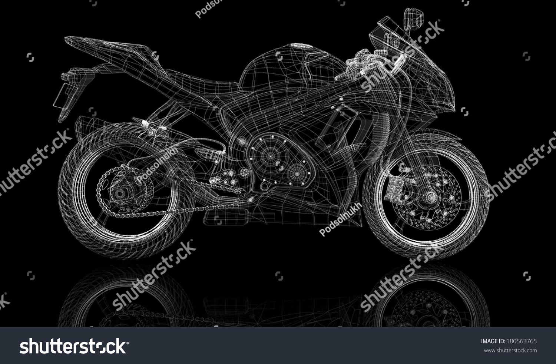 Bike Motorcycle 3 D Model Body Structure Stock Illustration ...