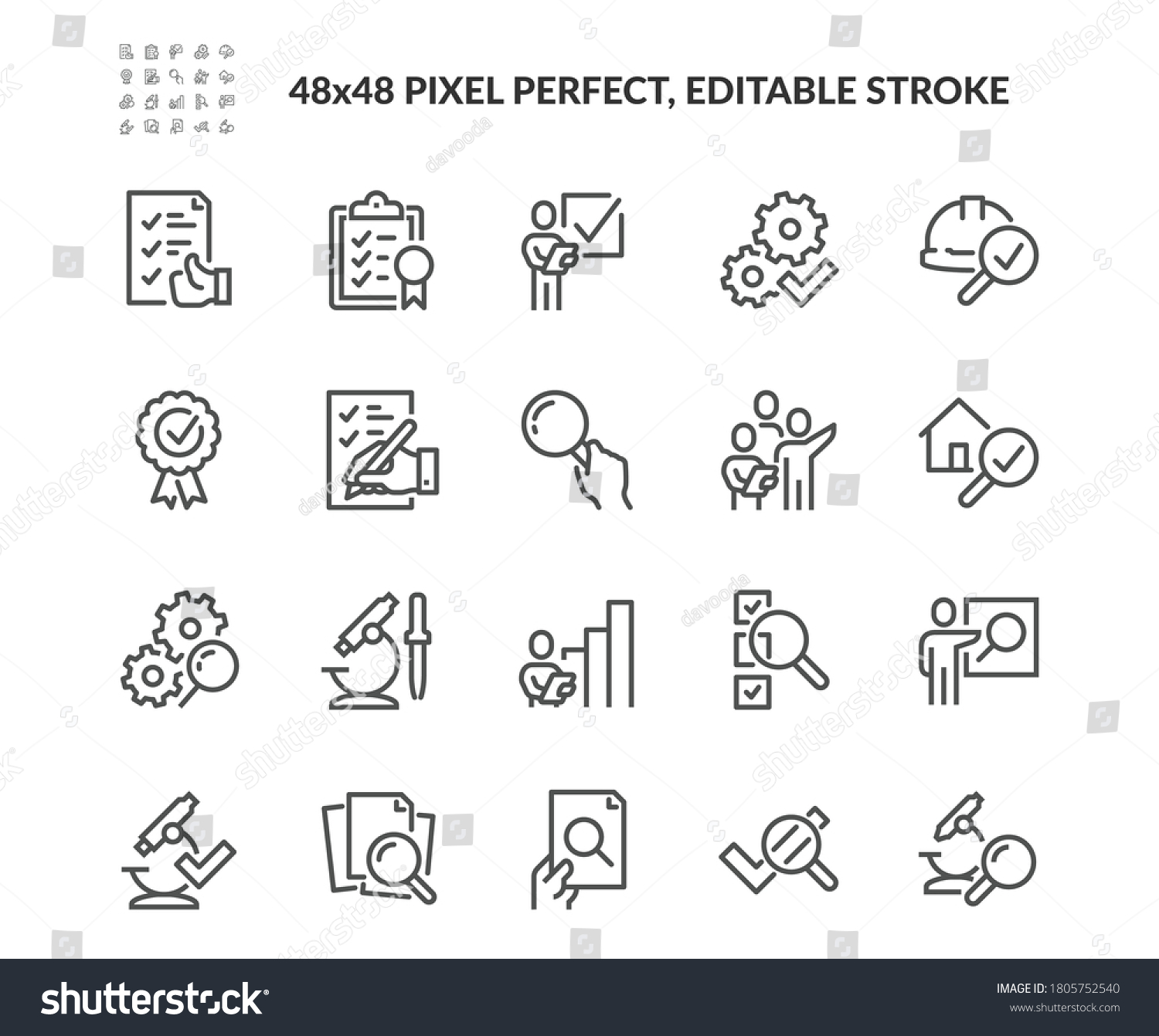 Simple Set of Inspection Related Vector Line Icons. Contains such Icons as Check, Testing, Examination and more. Editable Stroke. 48x48 Pixel Perfect. #1805752540