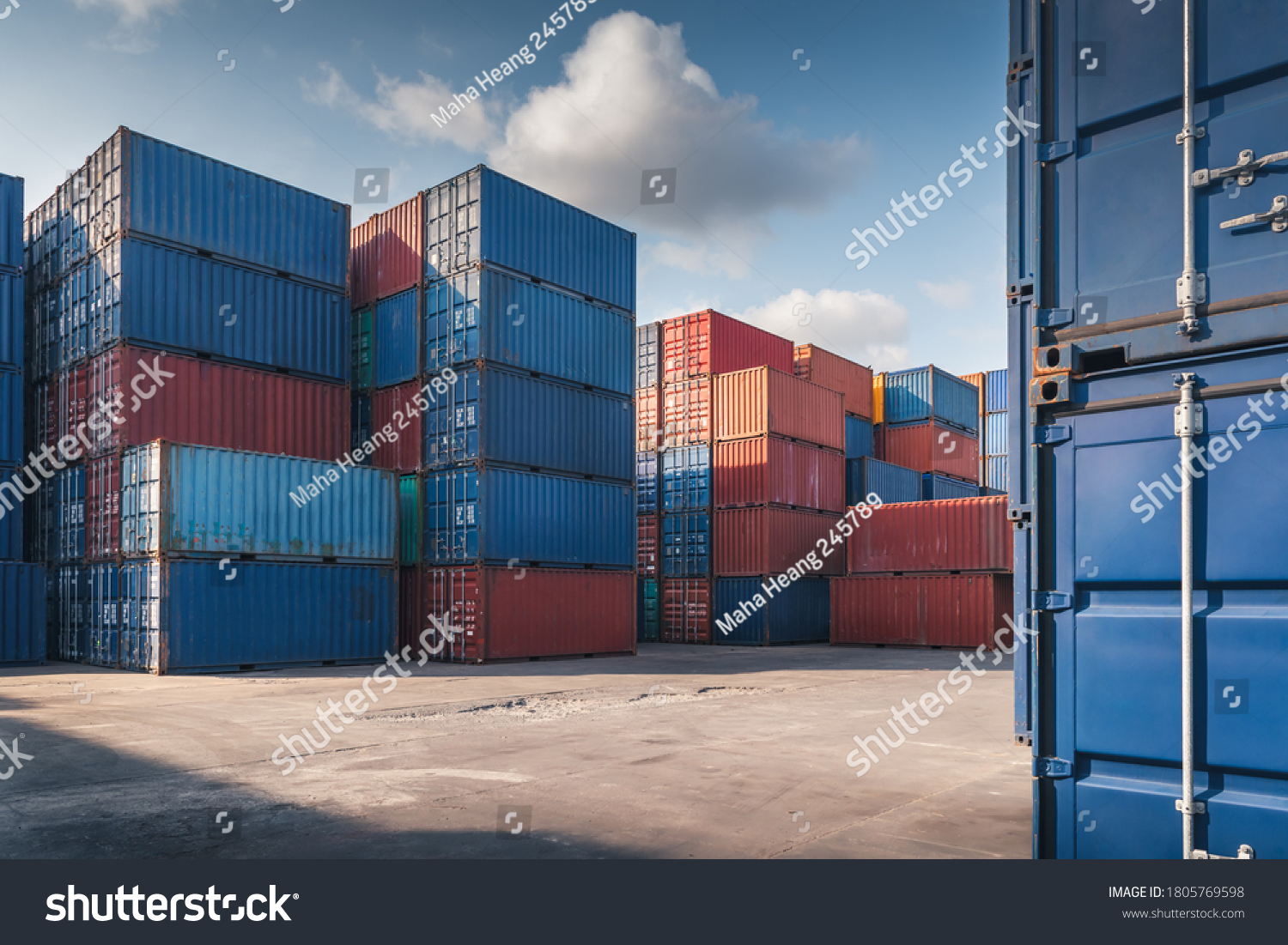 Stack of Containers Cargo Ship Import/Export in Harbor Port, Cargo Freight Shipping of Container Logistics Industry. Nautical Transport Distribution Yard, Business Commercial Dock and Transportation.  #1805769598