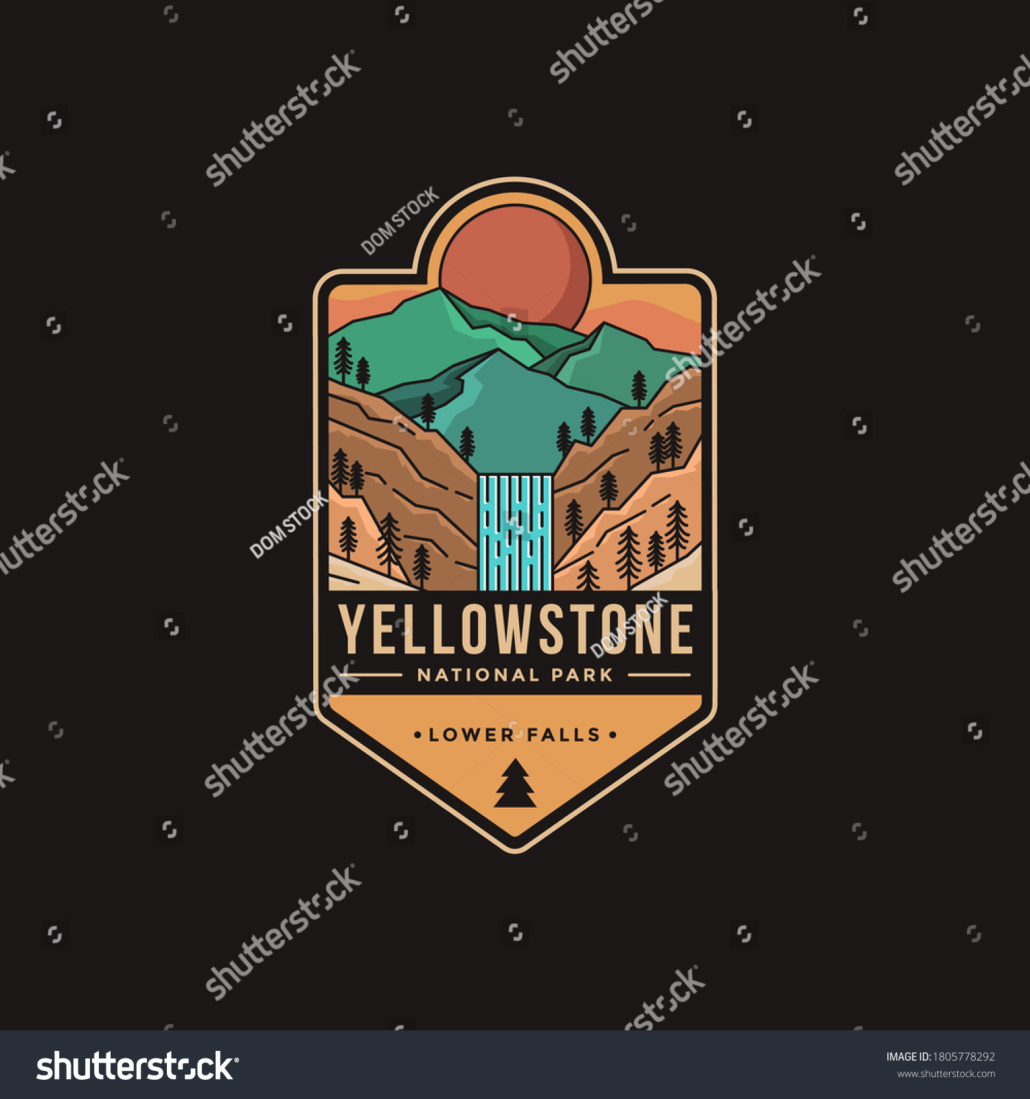 Lineart Emblem patch logo illustration of Lower falls Yellowstone National Park #1805778292