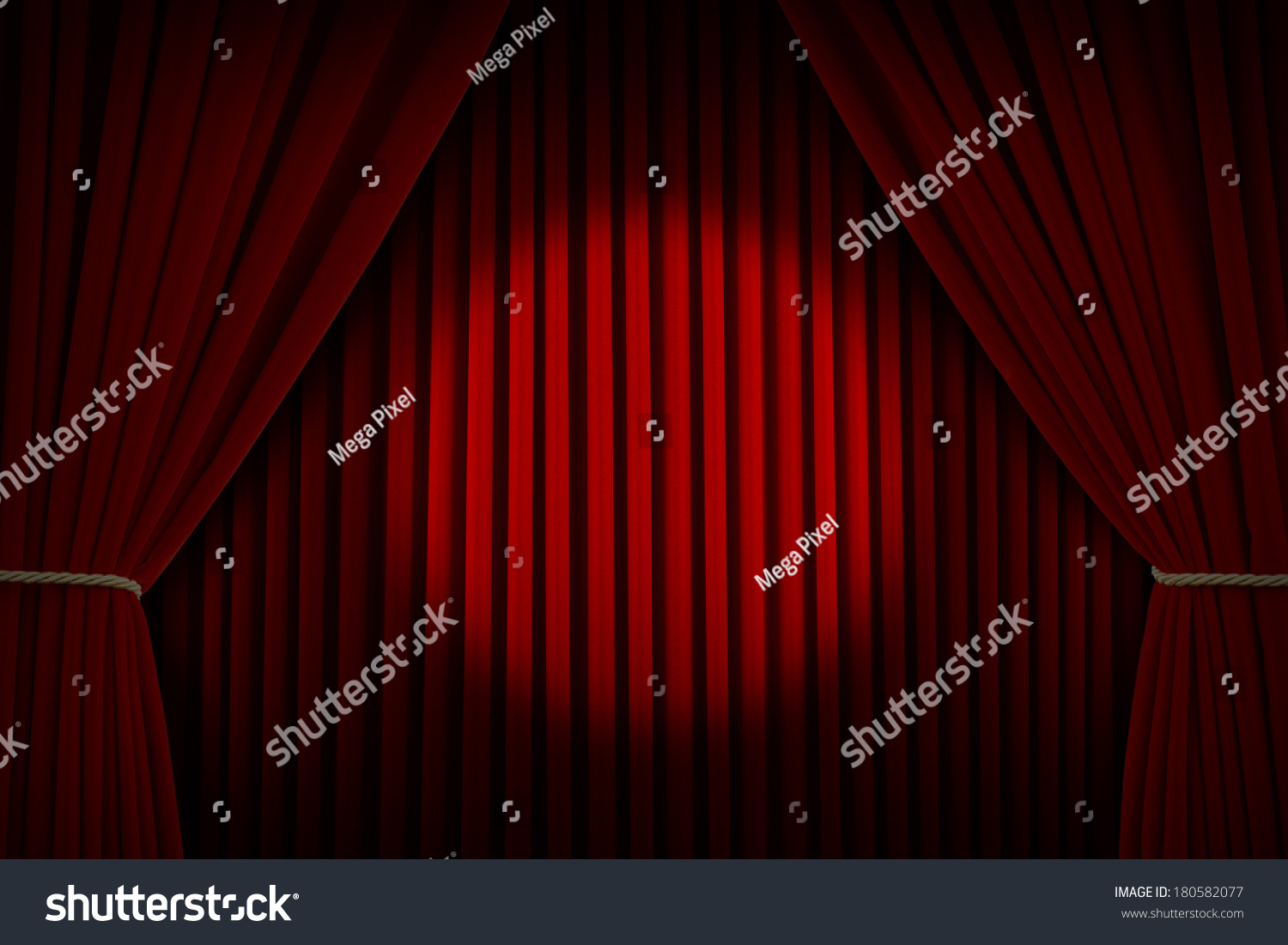 Stage curtains spotlight - Red Velvet Stage Curtains With Center Spotlight