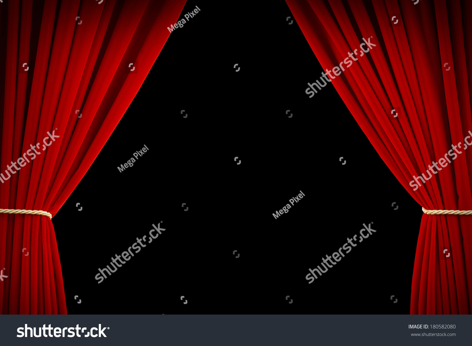 Red stage curtains open - Open Red Velvet Movie Curtains With Black Screen