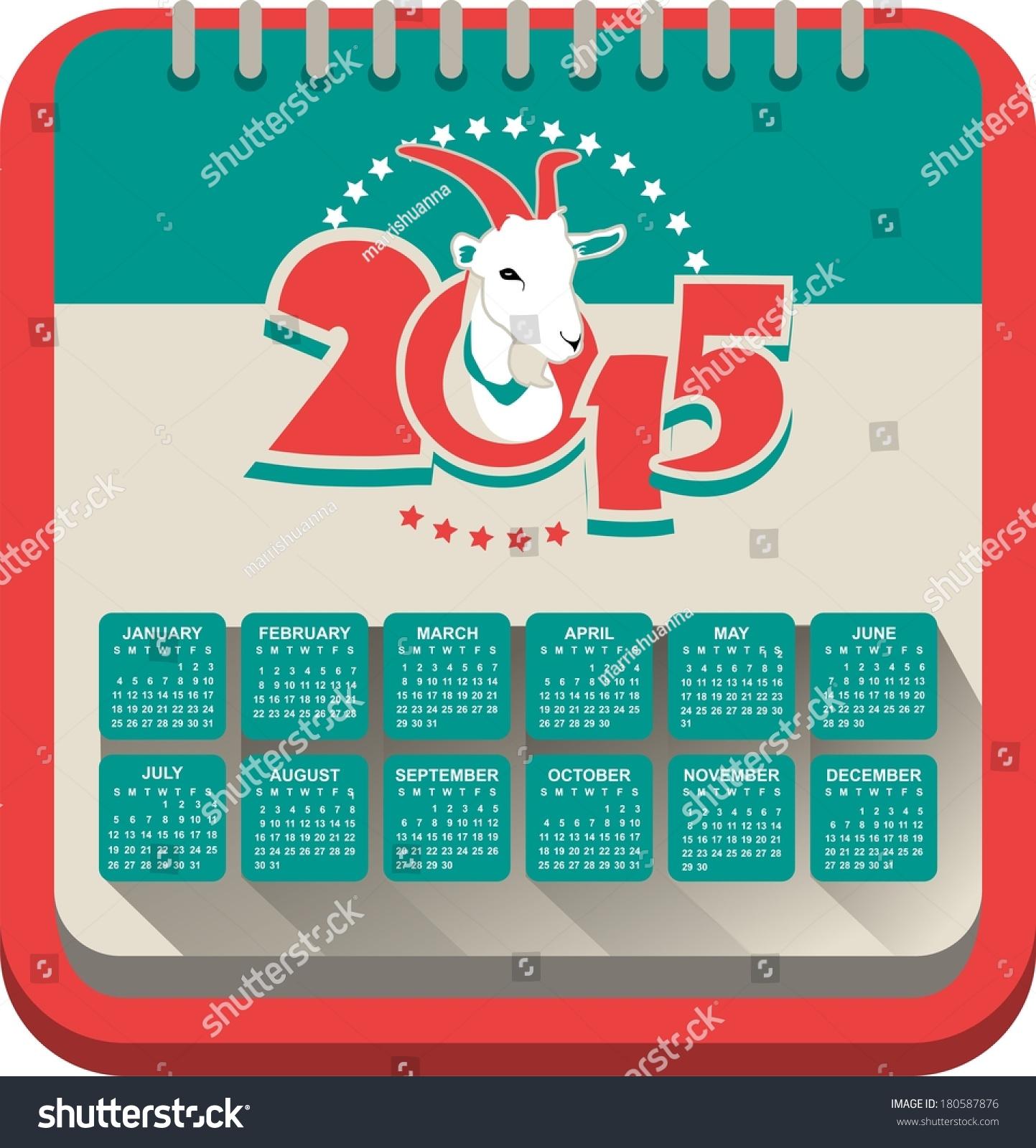 Text Calendar Template 2015 Calendar On Stock Photo Photo Vector