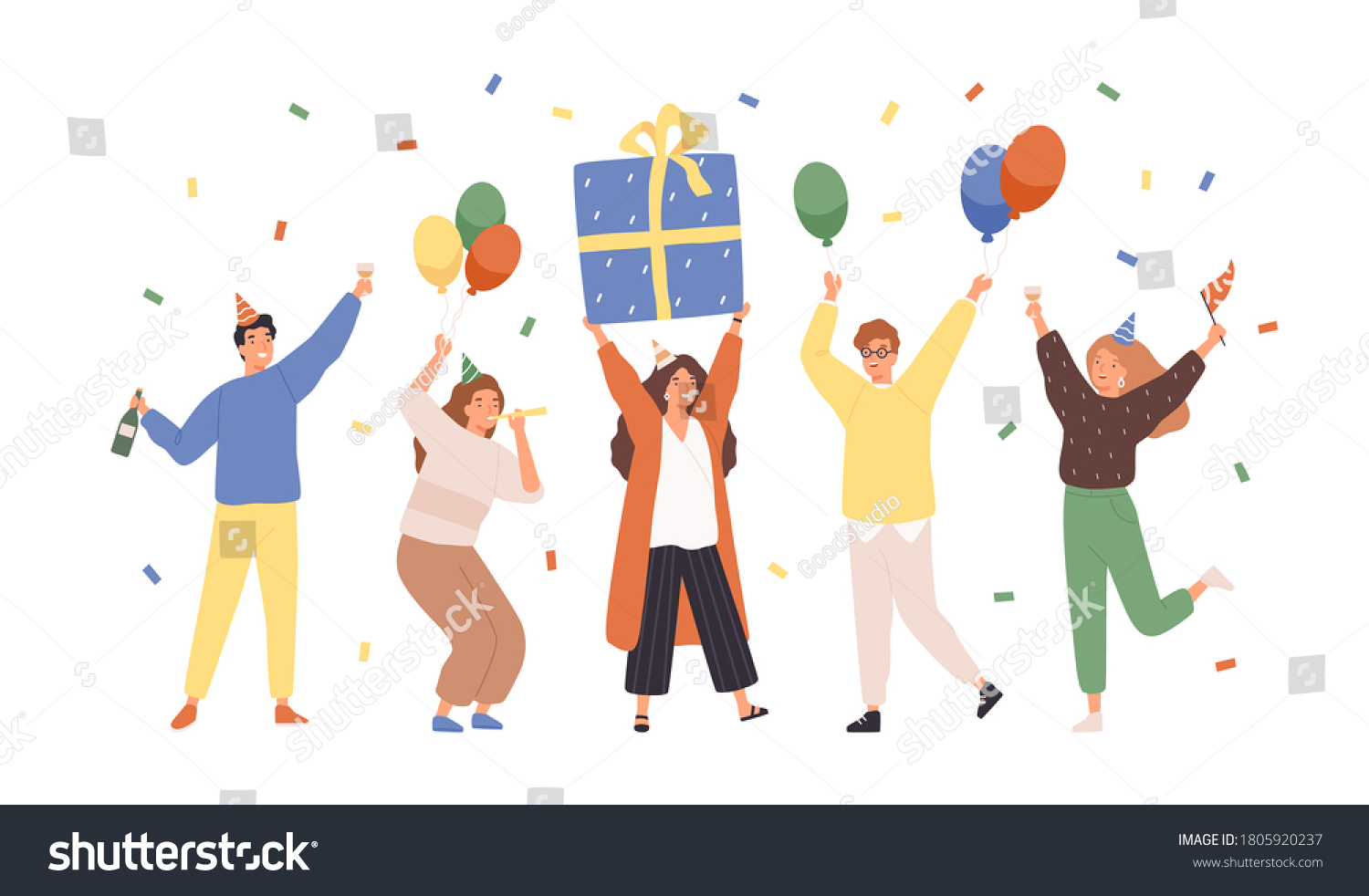 Group of happy people raising hands celebrating holiday with colorful confetti vector flat illustration. Woman hold gift box having fun with friends isolated. Person with balloons and champagne #1805920237