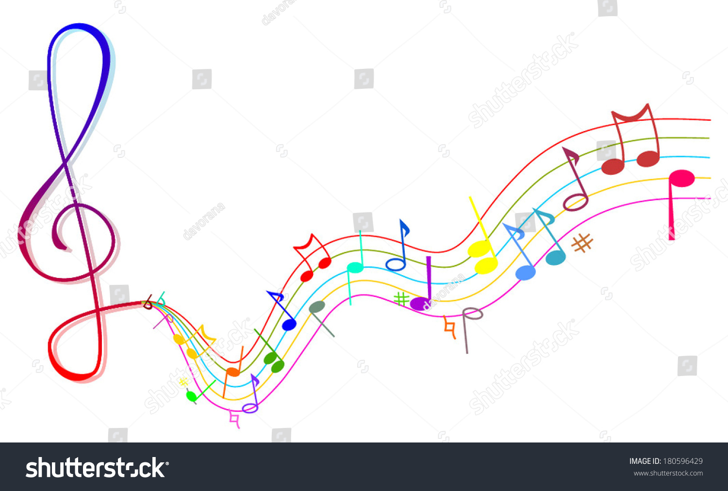 Rainbow Music Background Meaning Colorful Lines And Melody: Vector Illustration Abstract Background Colorful Music