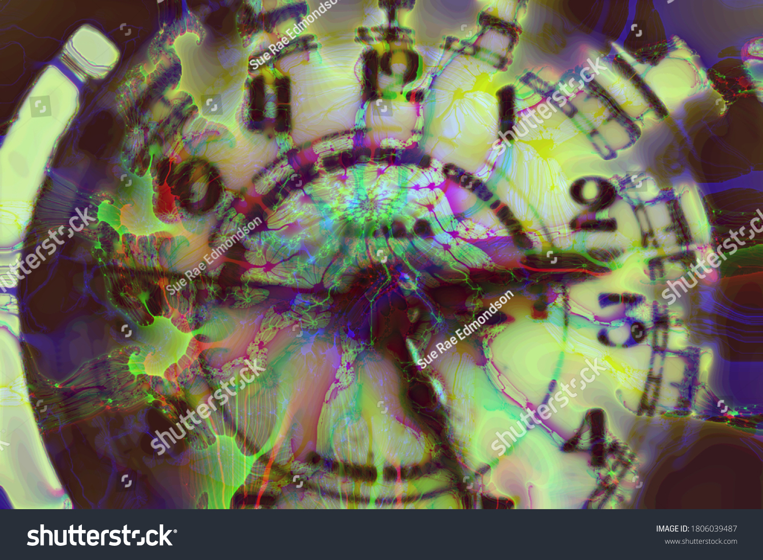 abstract clock coloured ink overlay