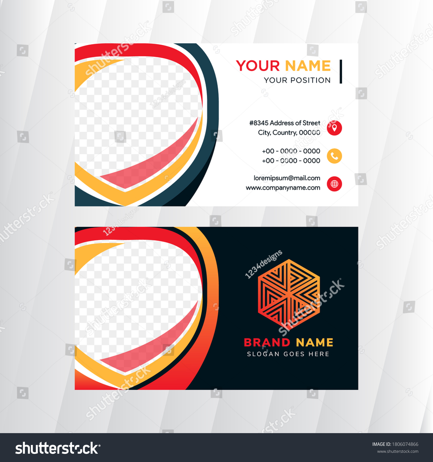 Business Card Design Template White Dark Stock Vector (Royalty Within Shield Id Card Template